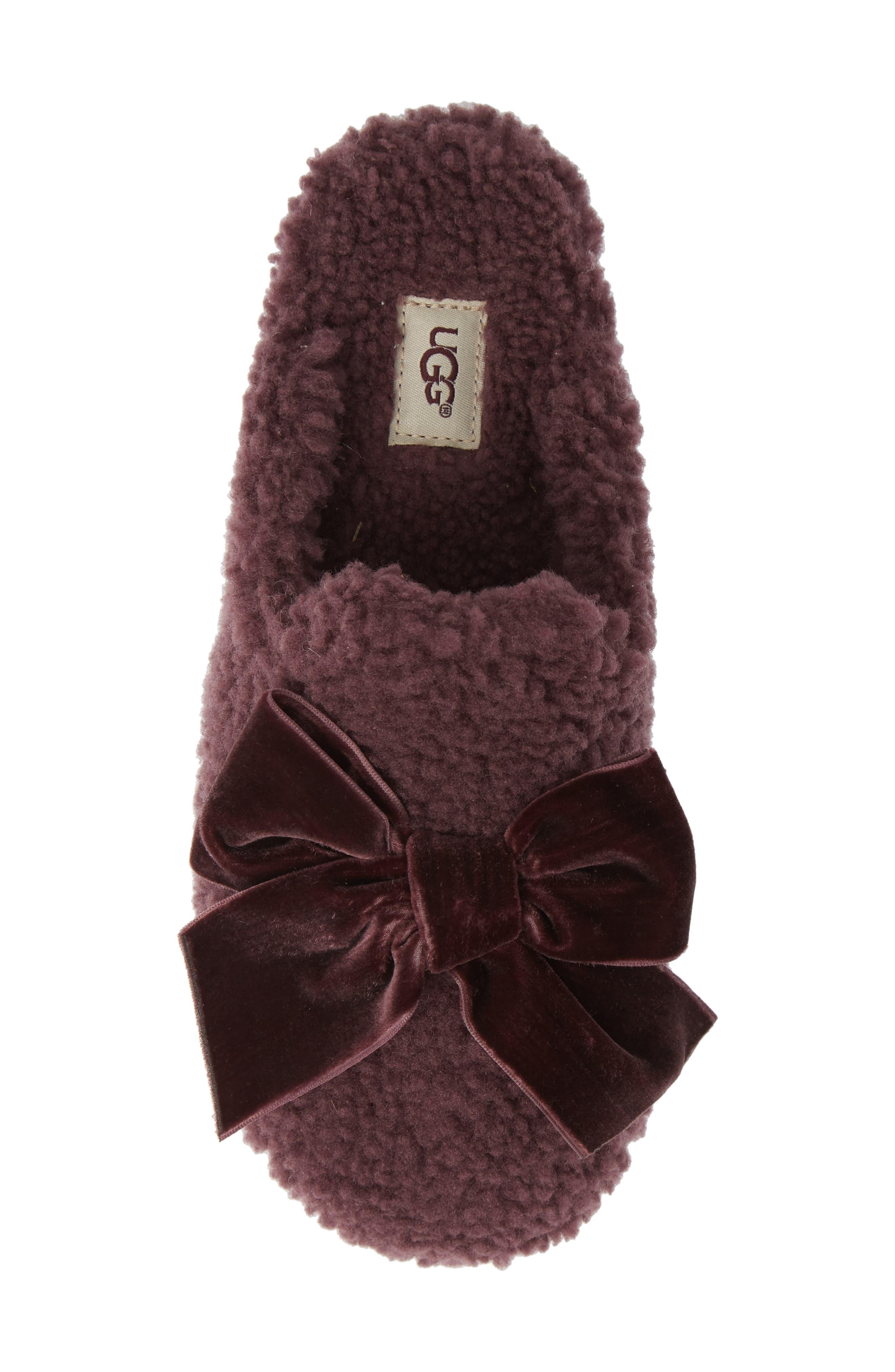 Addison Velvet Bow Genuine Shearling Slipper,                             Alternate thumbnail 5, color,                             PORT