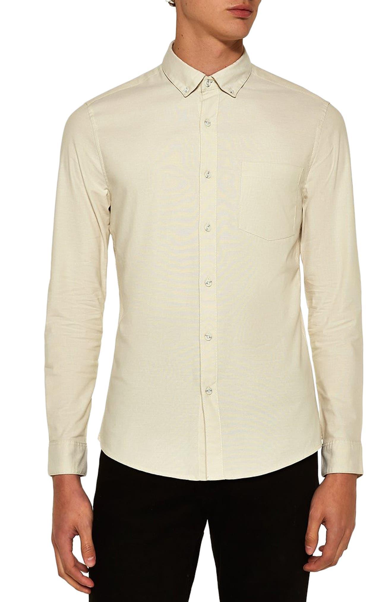 TOPMAN Muscle Fit Stripe Oxford Shirt, Main, color, 250