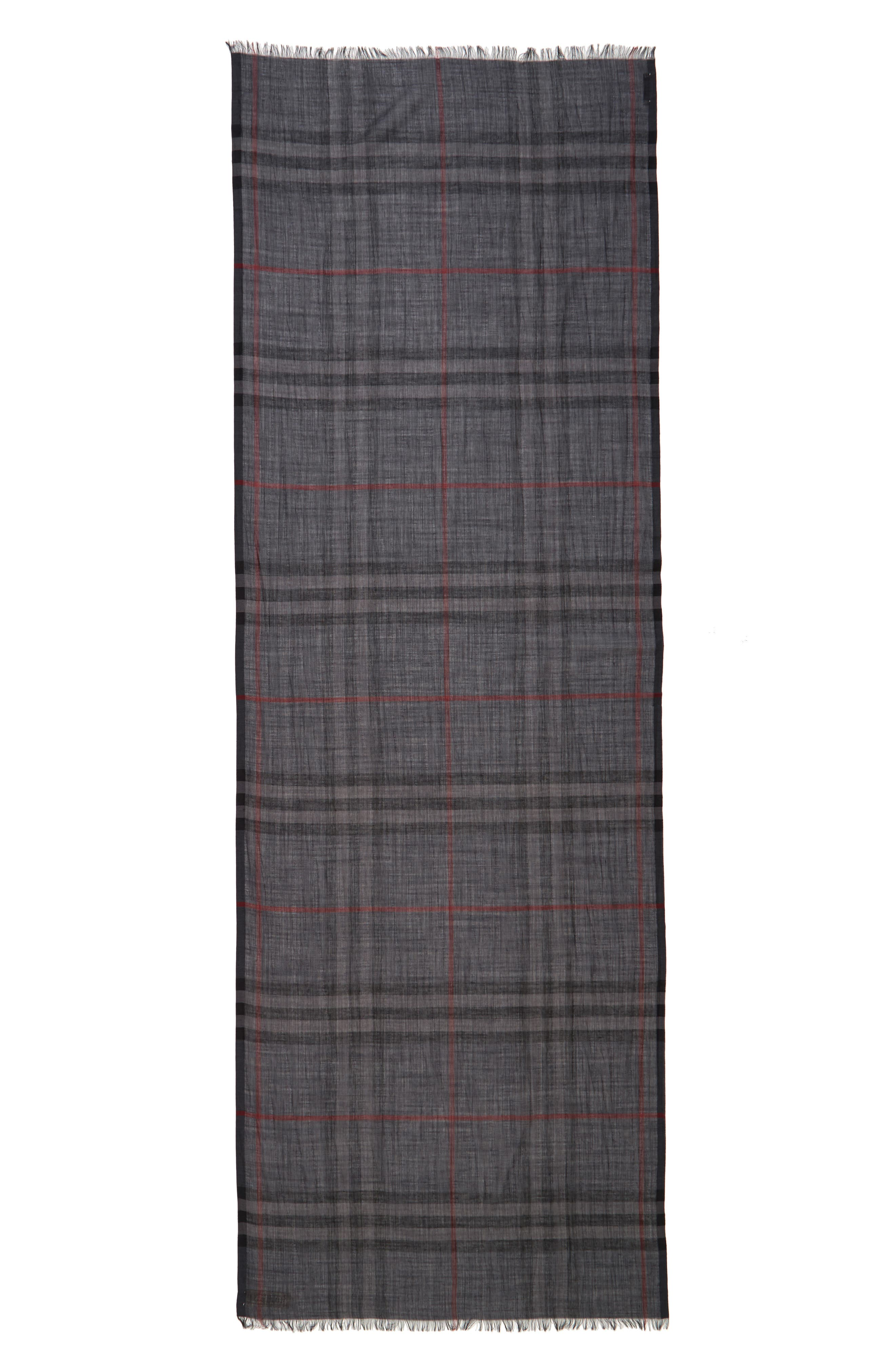Giant Check Print Wool & Silk Scarf,                             Alternate thumbnail 124, color,