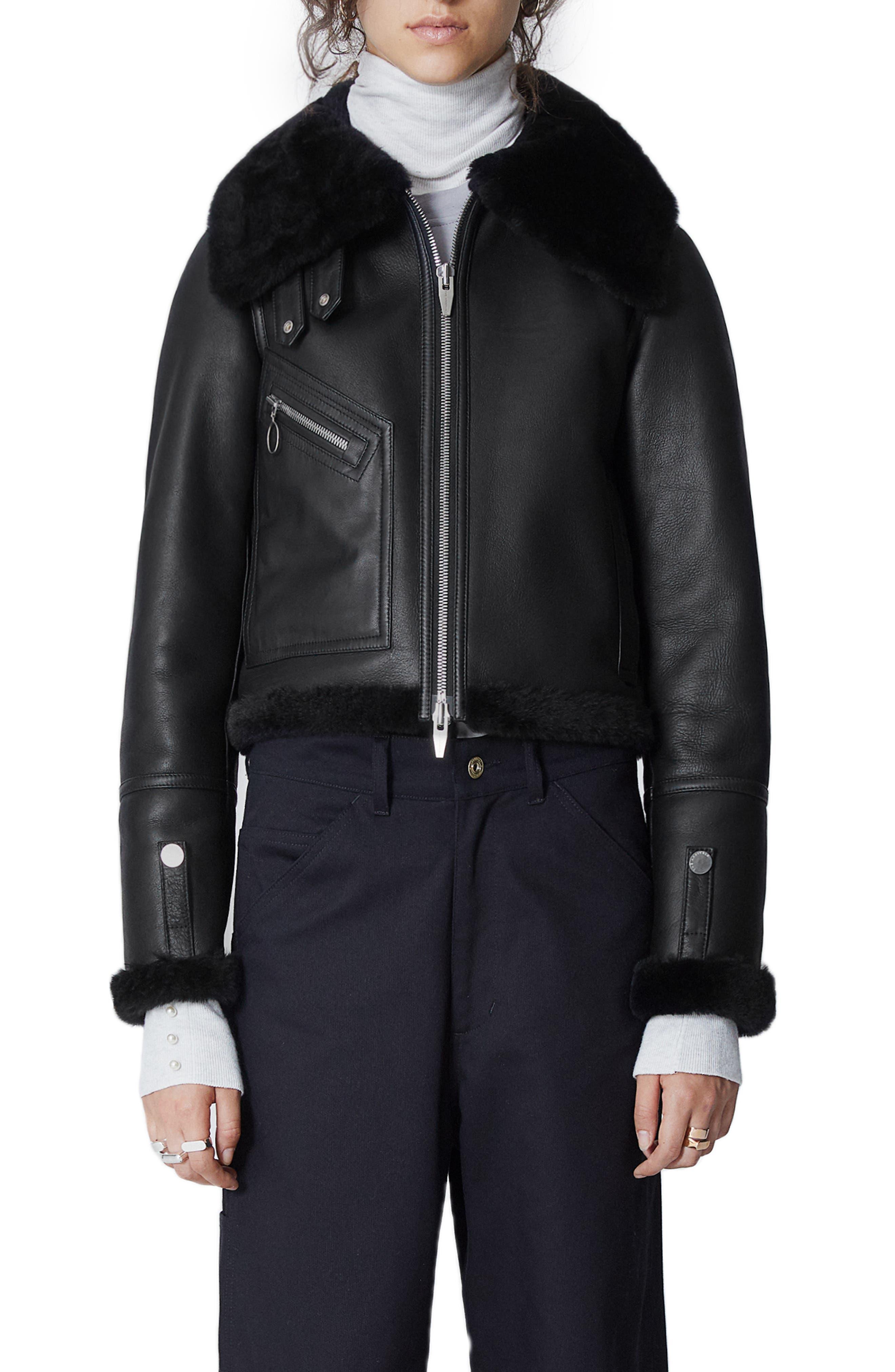 The Arrivals Moya Mini Leather & Genuine Shearling Jacket, Black
