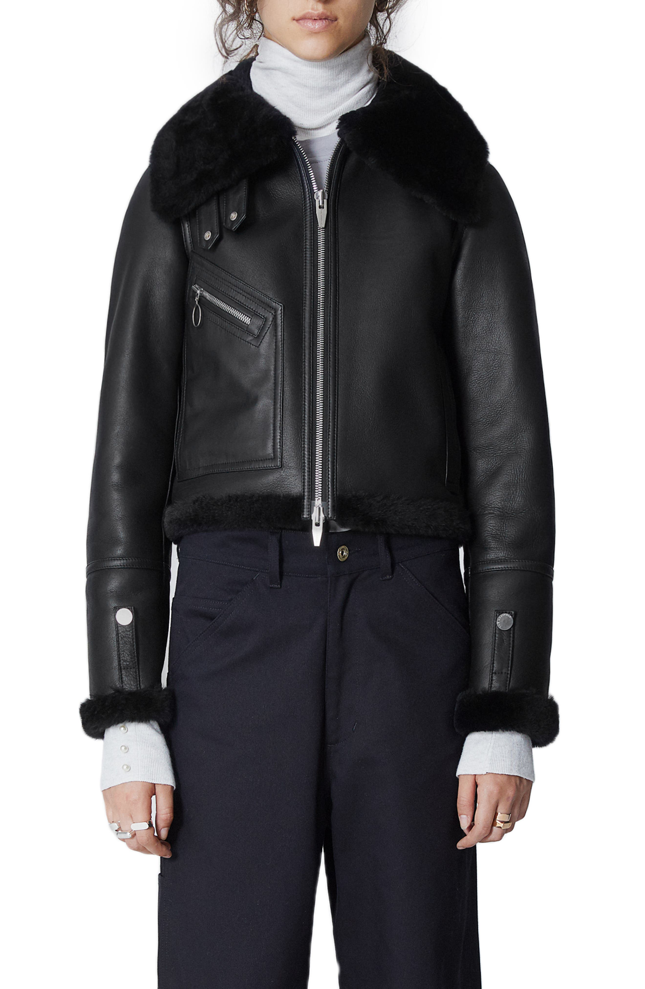 THE ARRIVALS Moya Mini Leather & Genuine Shearling Jacket in Black