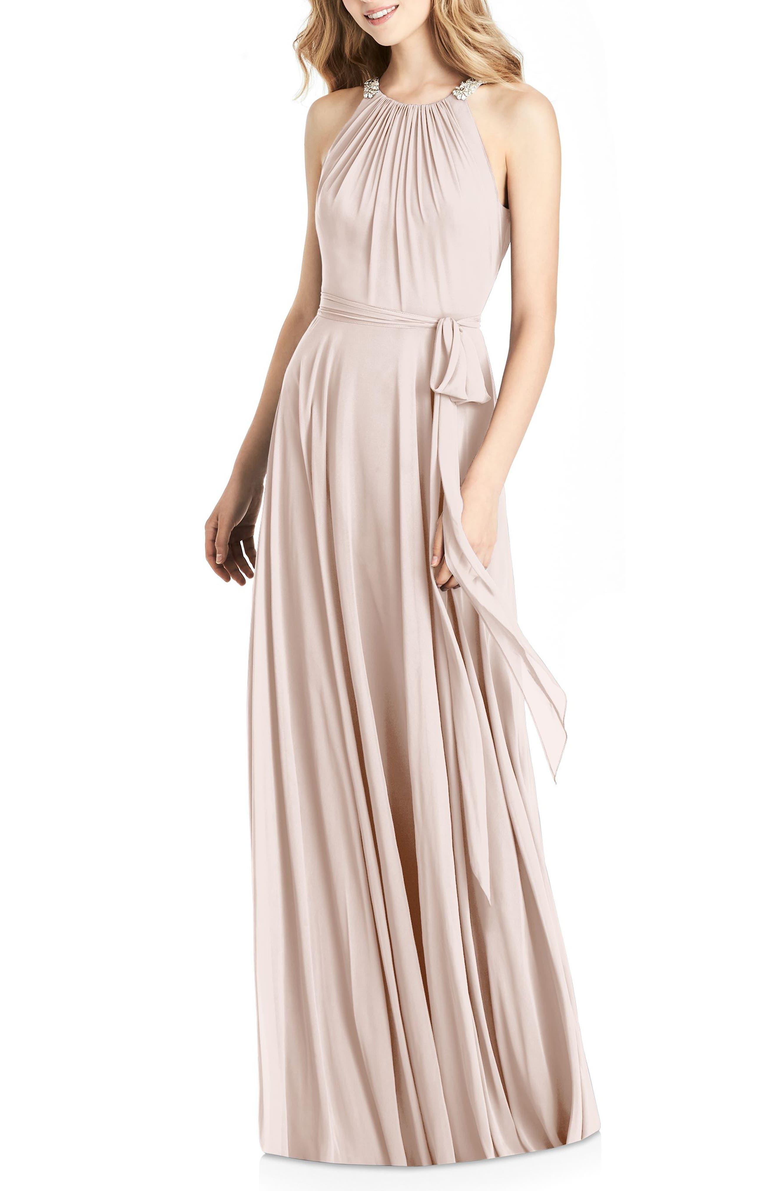 Jenny Packham Beaded Strap Chiffon Gown, Pink