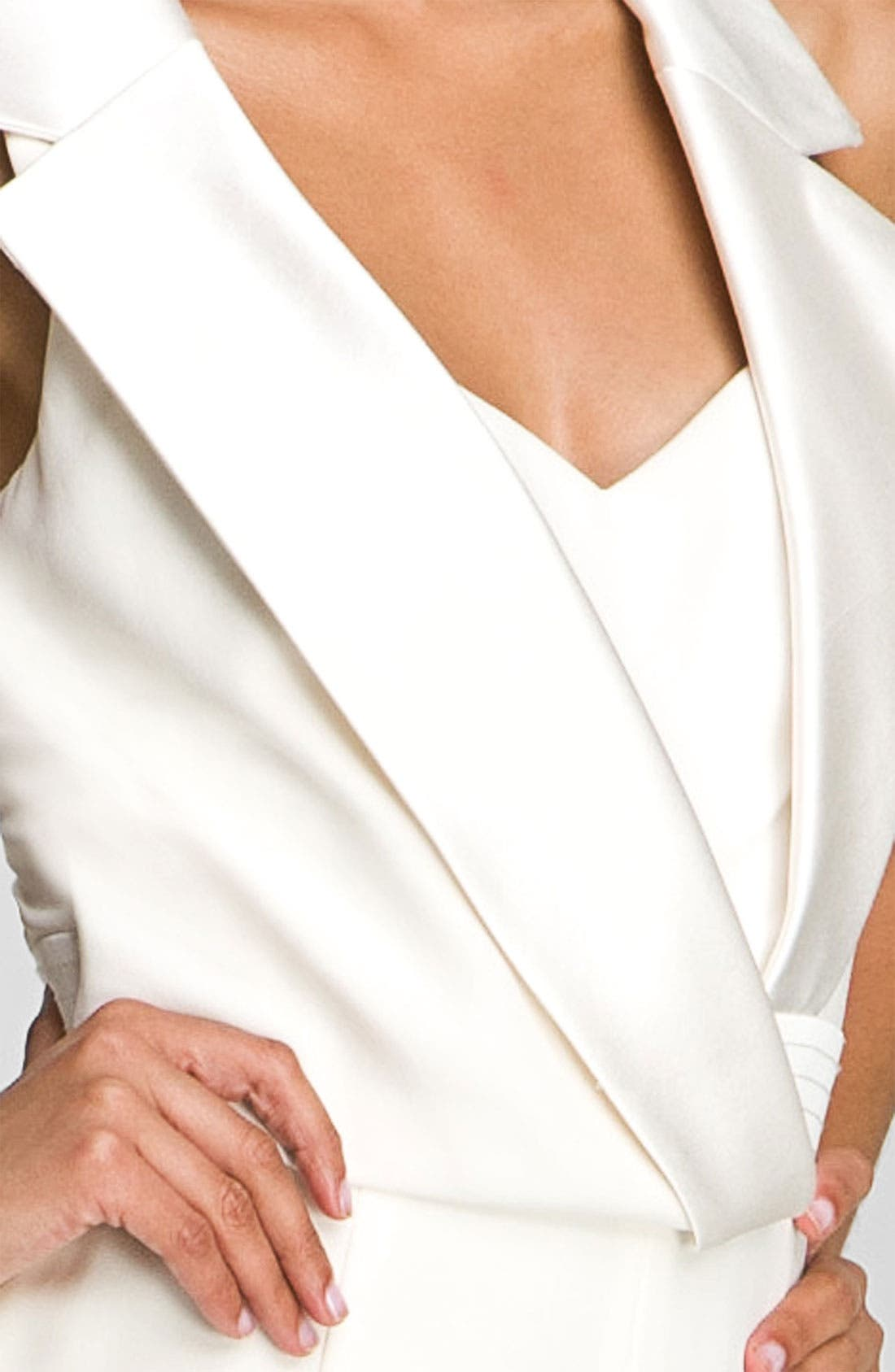 THEIA,                             Tuxedo Style Silk Jumpsuit,                             Alternate thumbnail 4, color,                             900