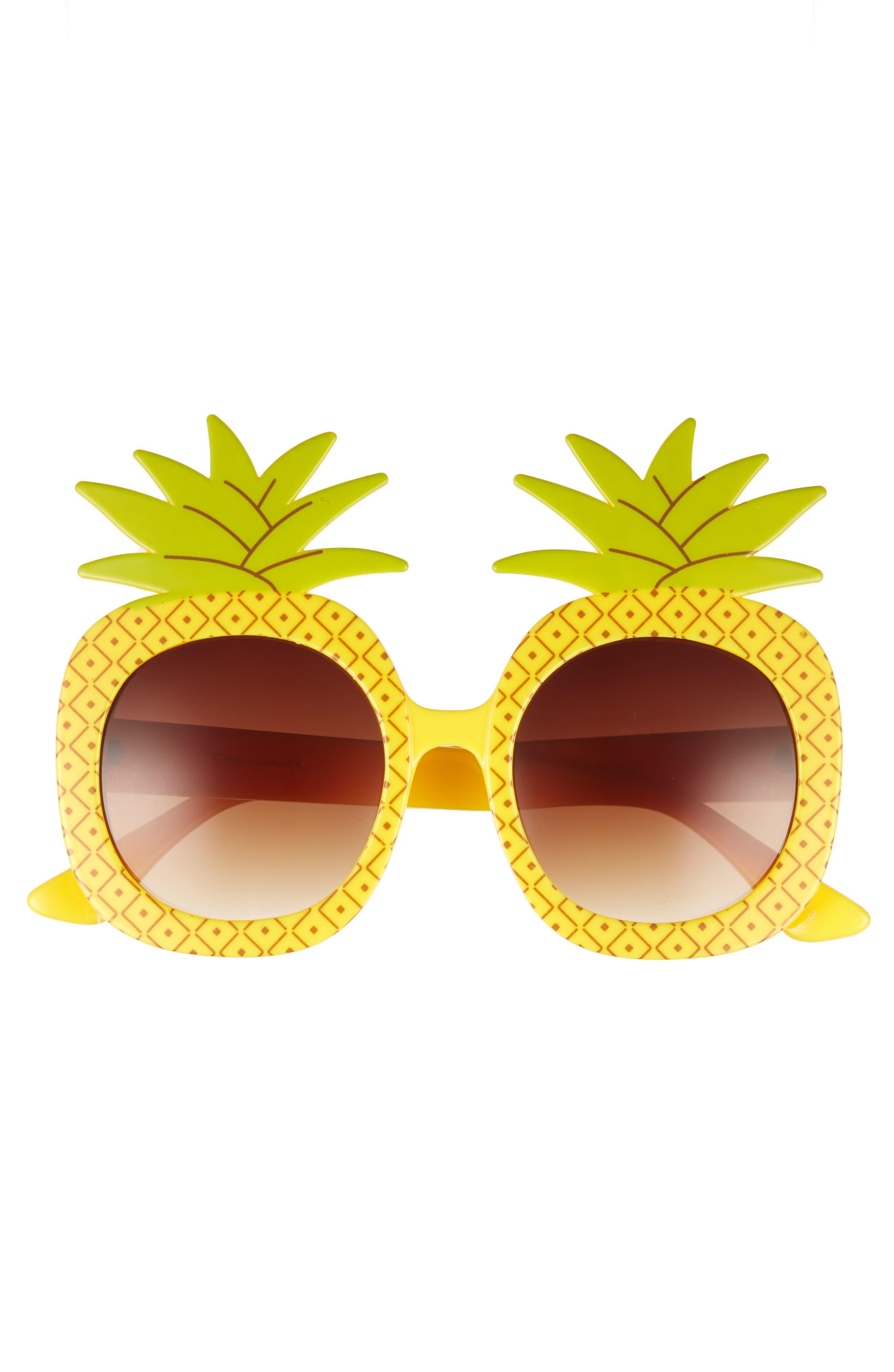 51mm Pineapple Glam Sunglasses,                             Alternate thumbnail 3, color,