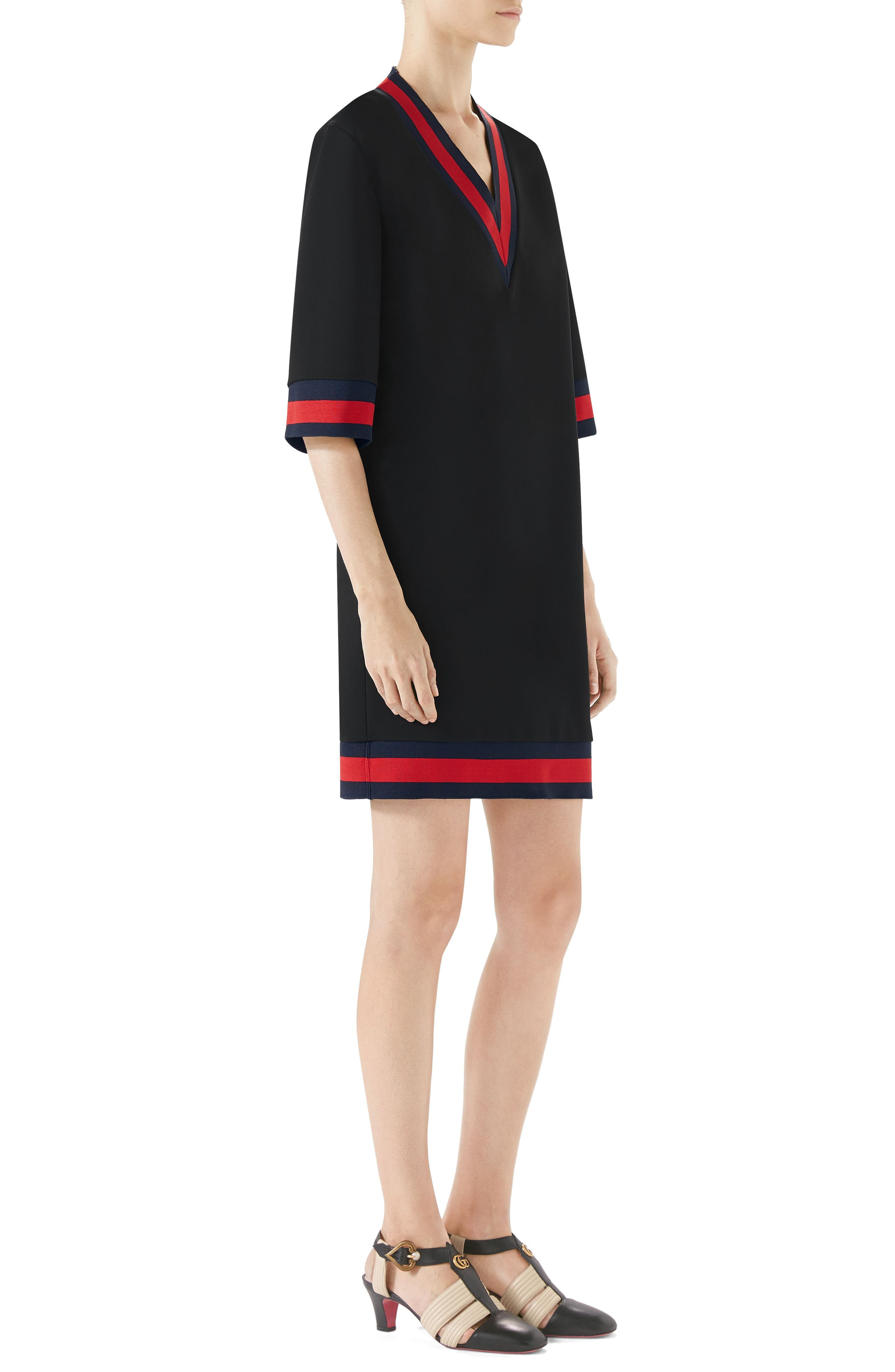 Stripe Trim Shift Dress,                             Alternate thumbnail 3, color,                             BLACK