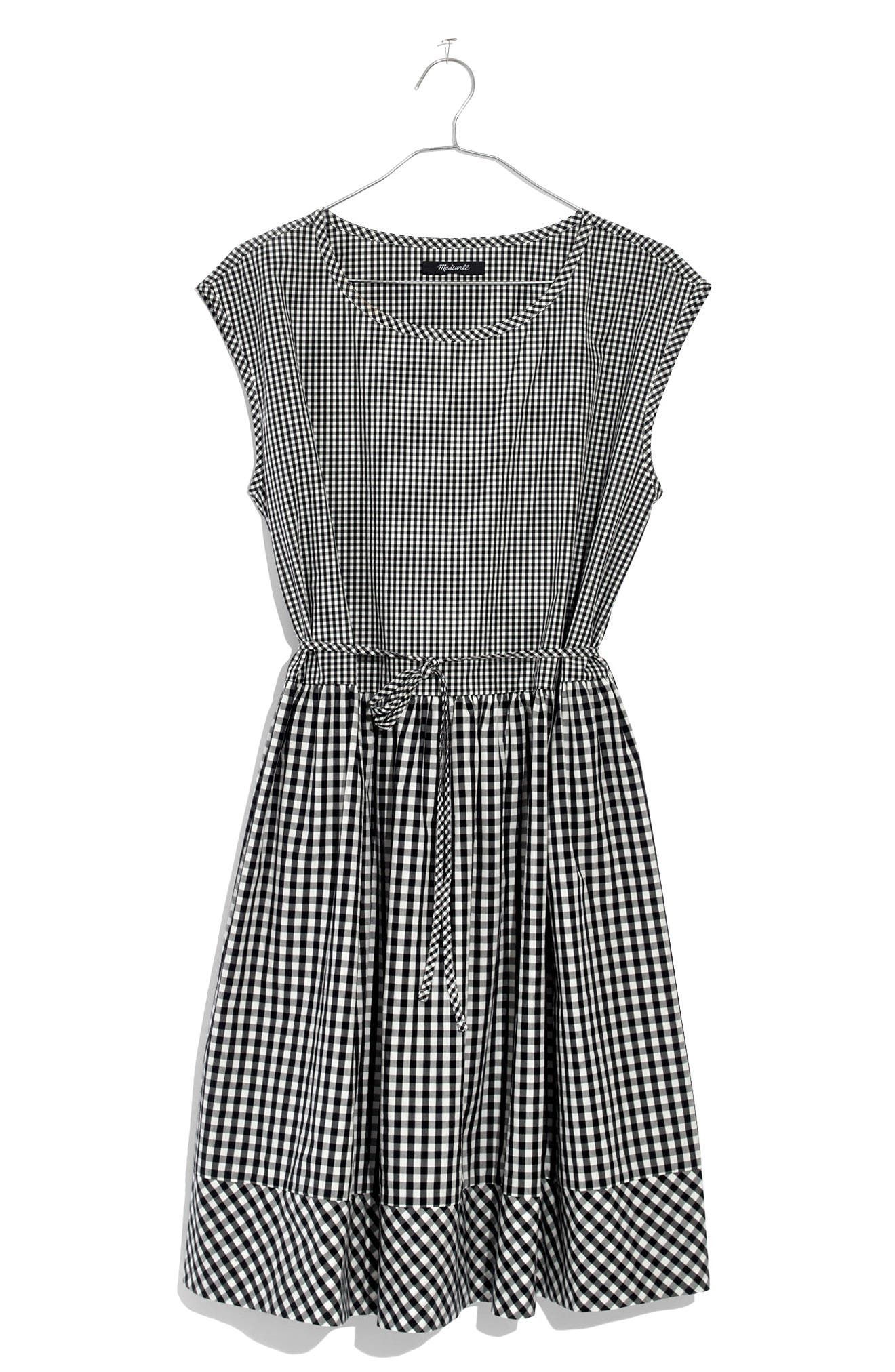 Gingham Tie Back Minidress,                             Alternate thumbnail 4, color,                             009
