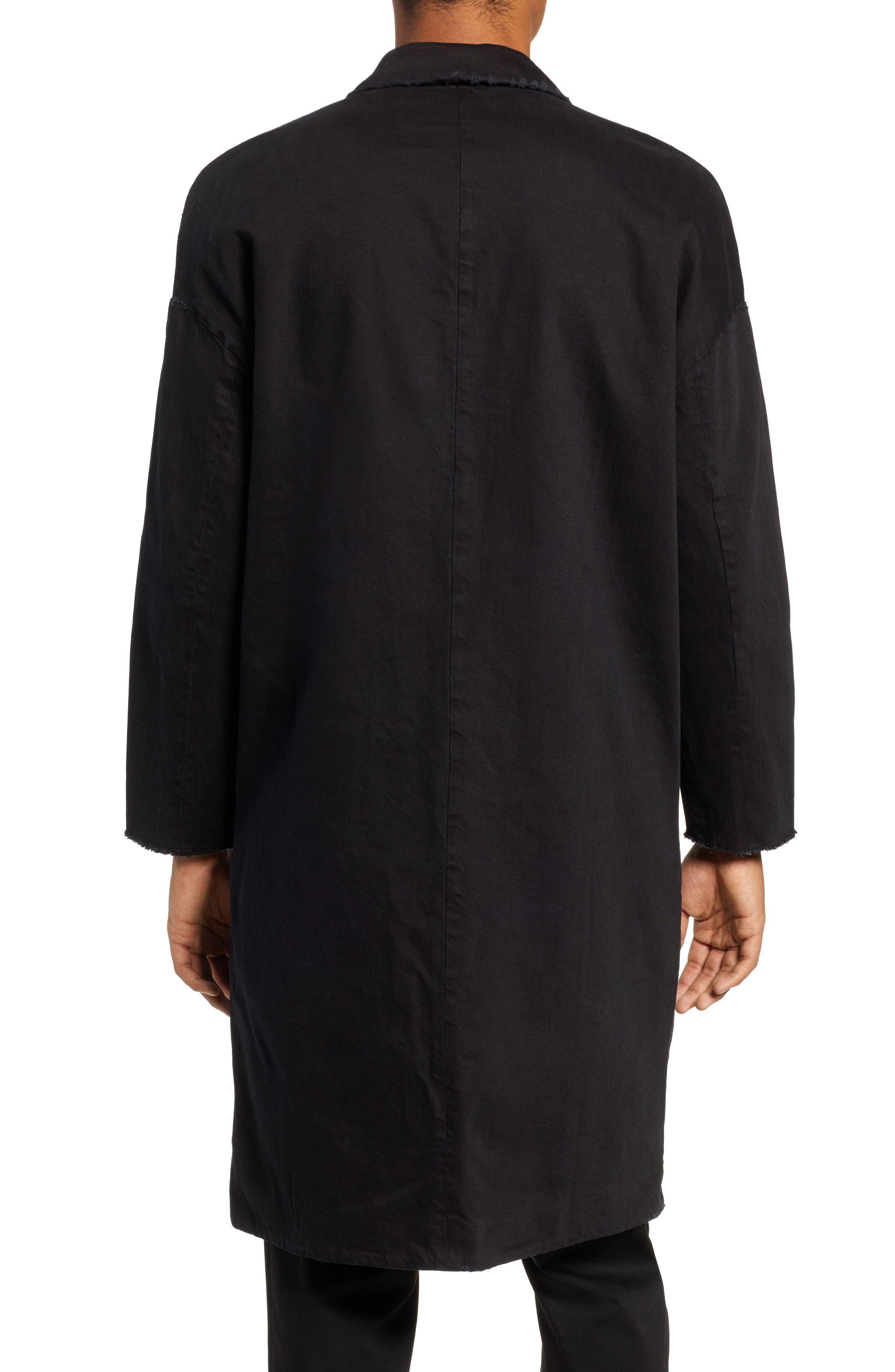 Relaxed Fit Long Denim Coat,                             Alternate thumbnail 2, color,                             BLACK INDIGO