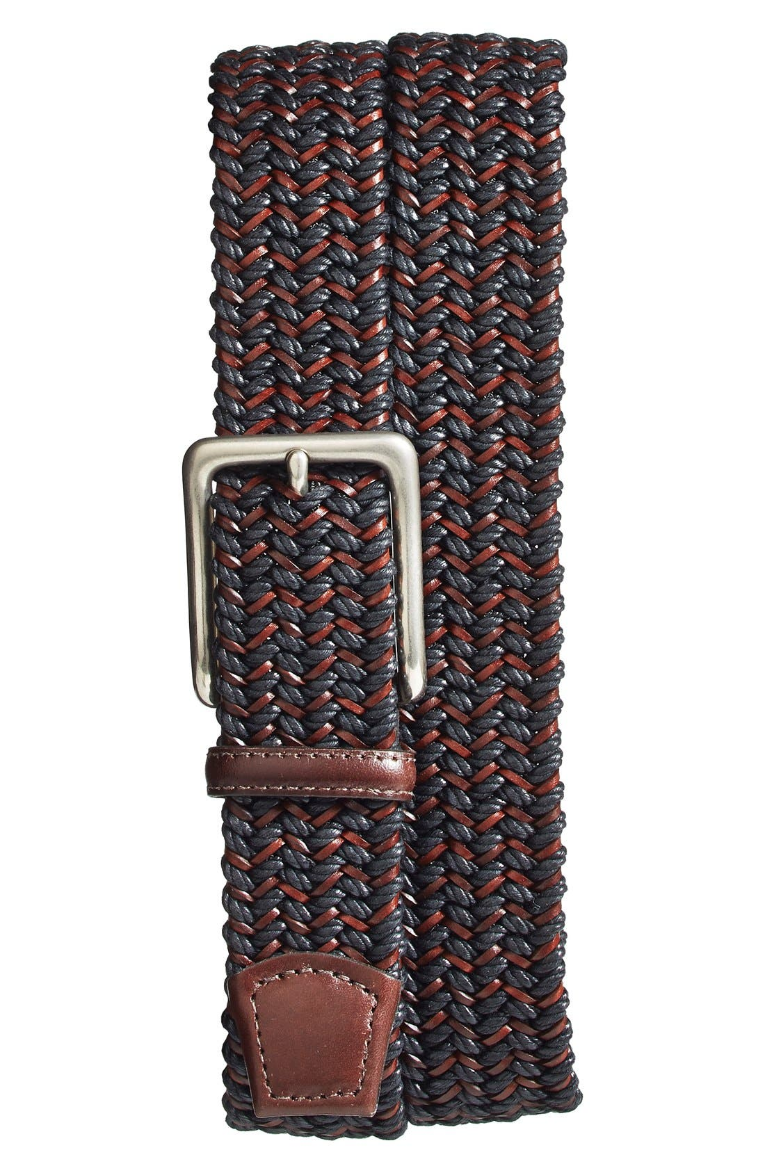 Torino Belts Woven & Leather Belt, Black/ Brown