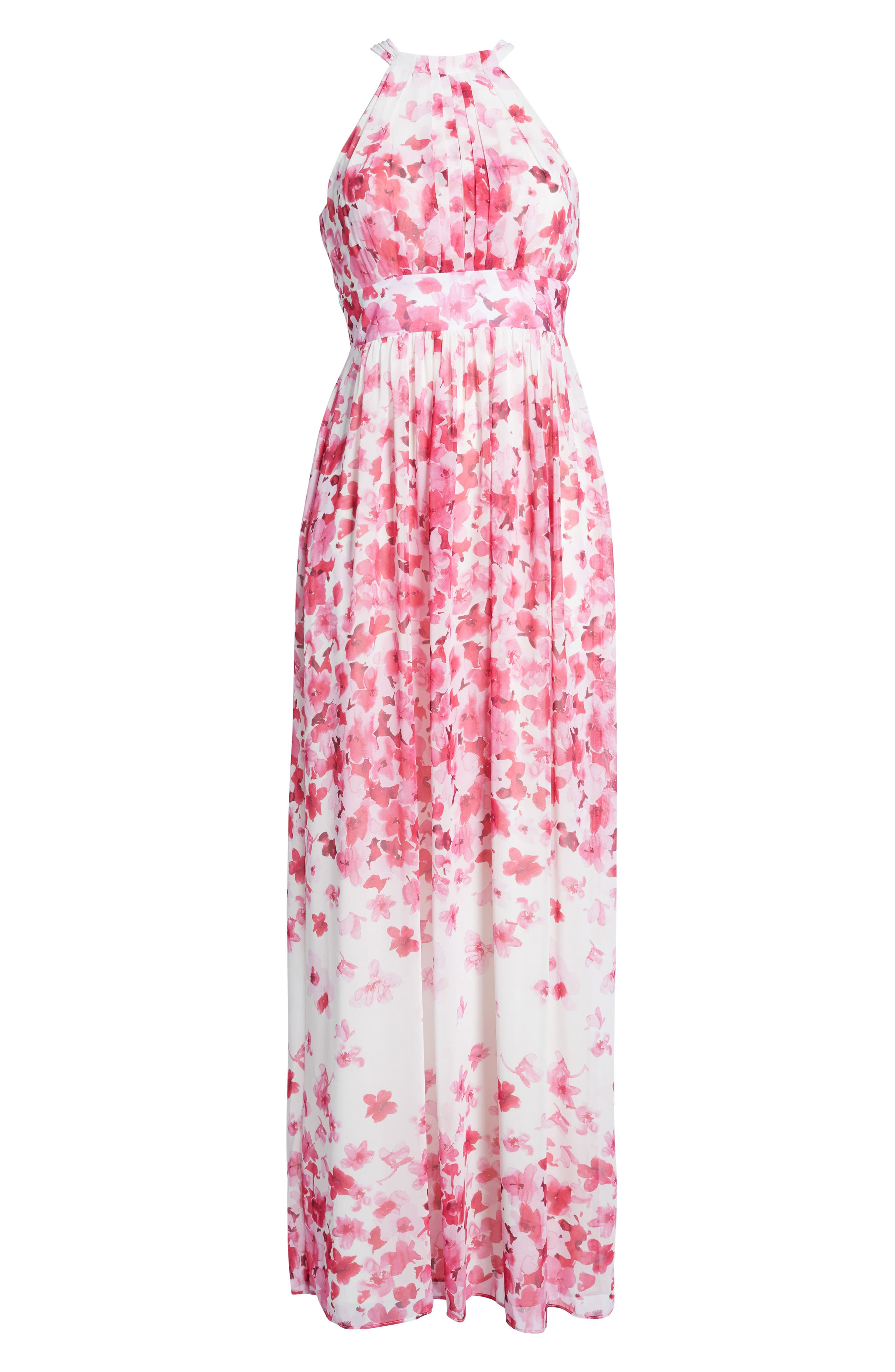 Print Pleated Chiffon Maxi Dress,                             Alternate thumbnail 2, color,                             660