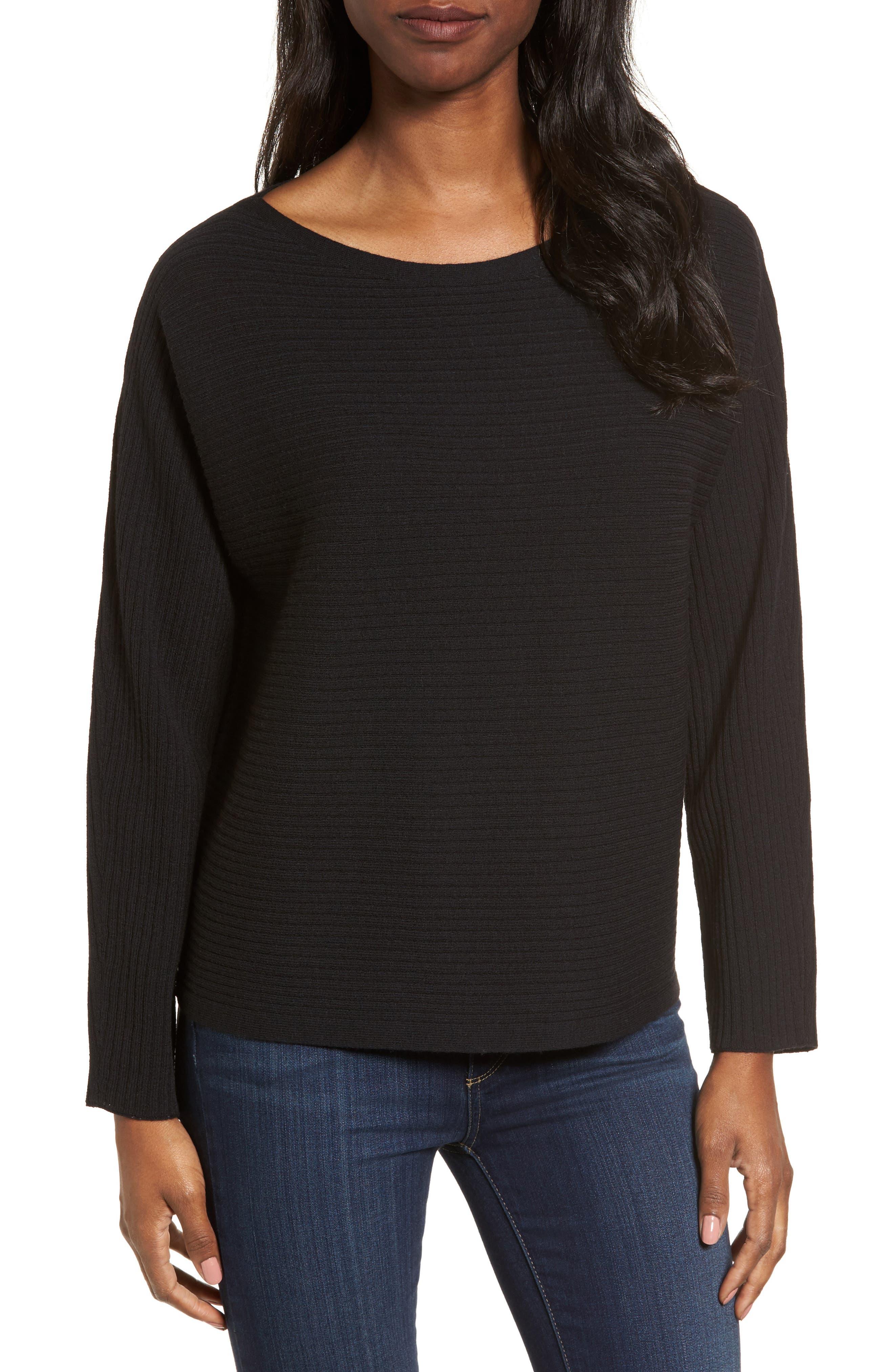 Boxy Ribbed Wool Sweater,                             Main thumbnail 1, color,                             001