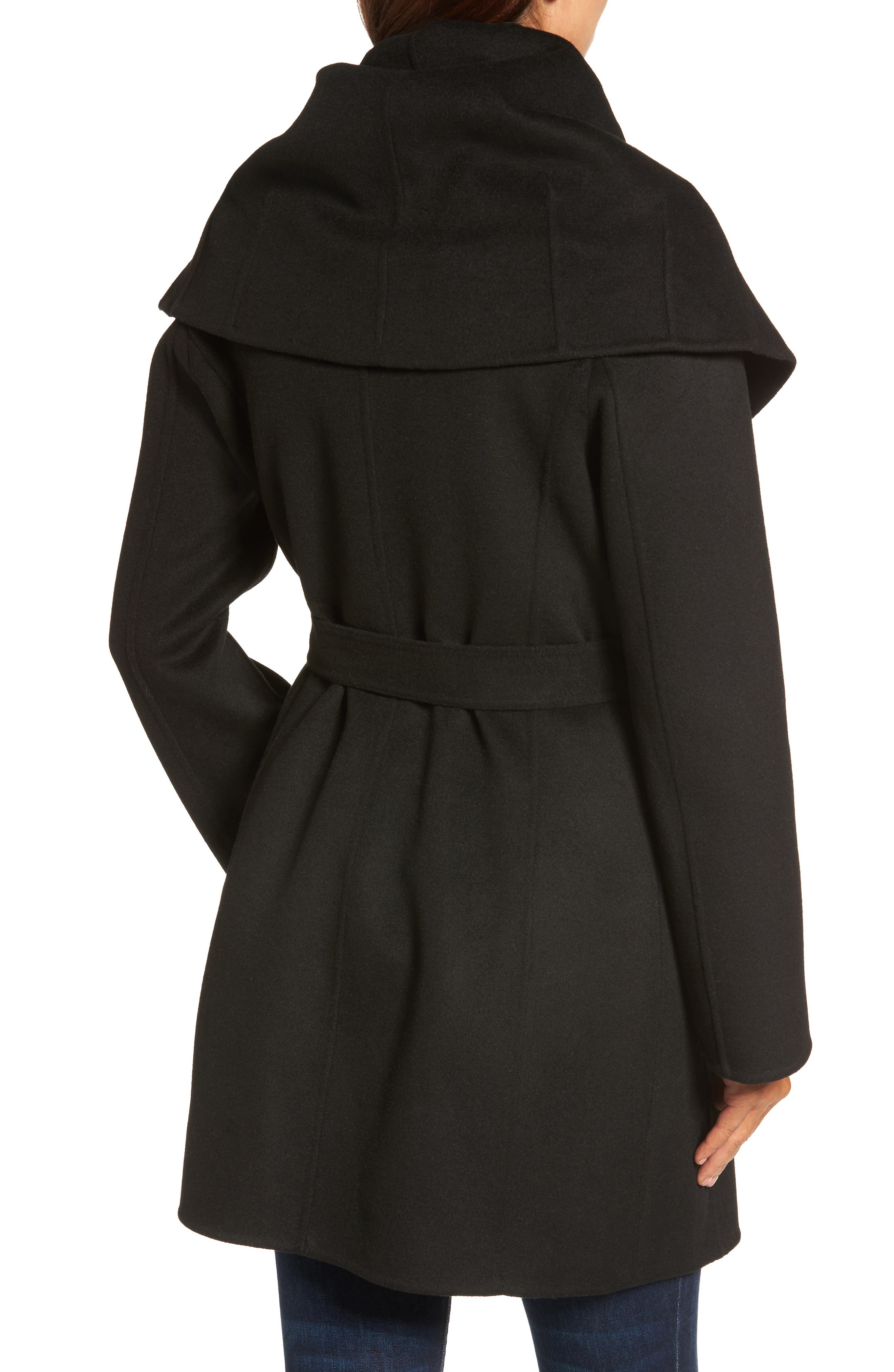 Marla Double Face Wool Blend Wrap Coat,                             Alternate thumbnail 2, color,                             001