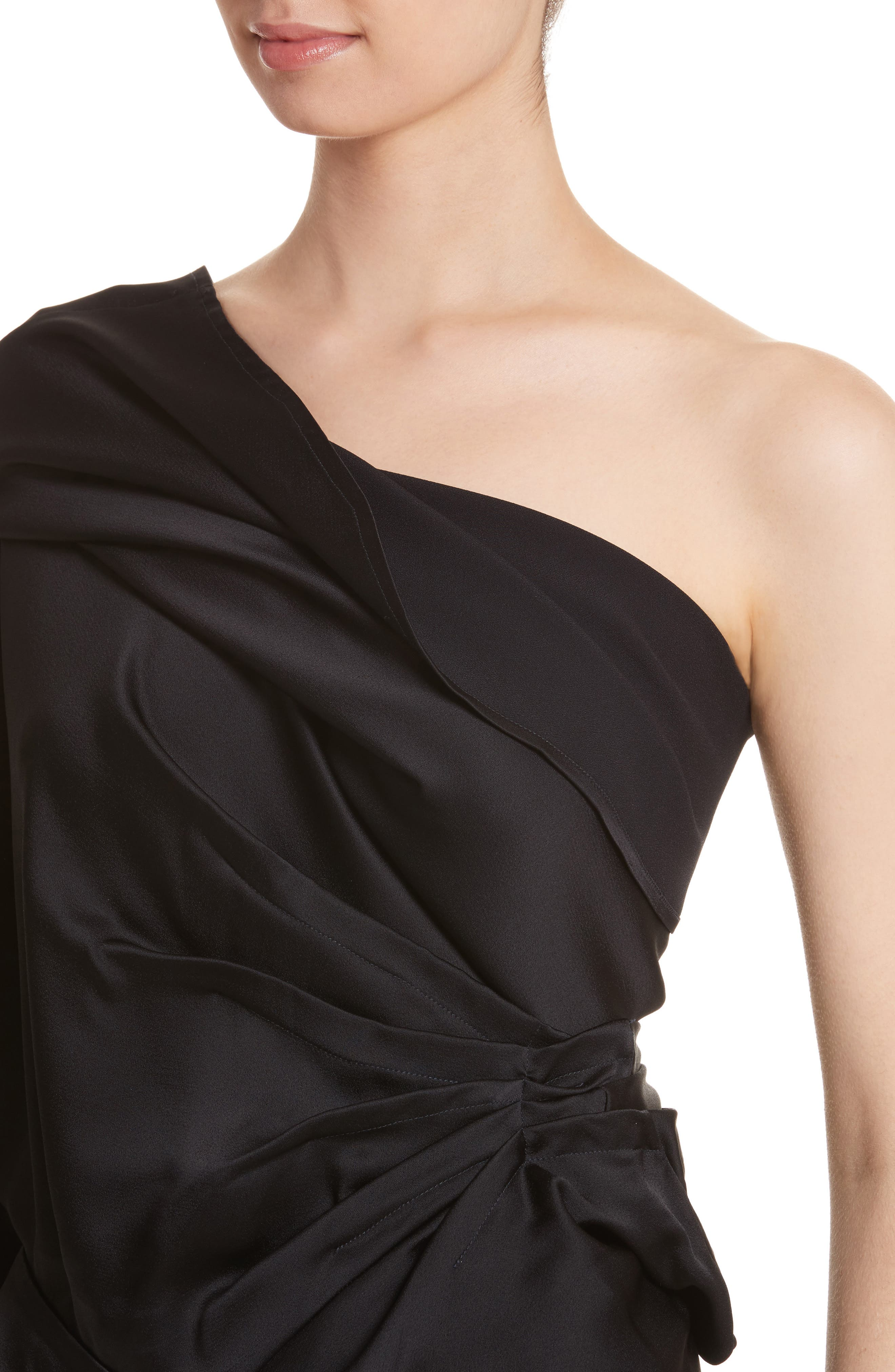 Twisted One Shoulder Top,                             Alternate thumbnail 4, color,                             001
