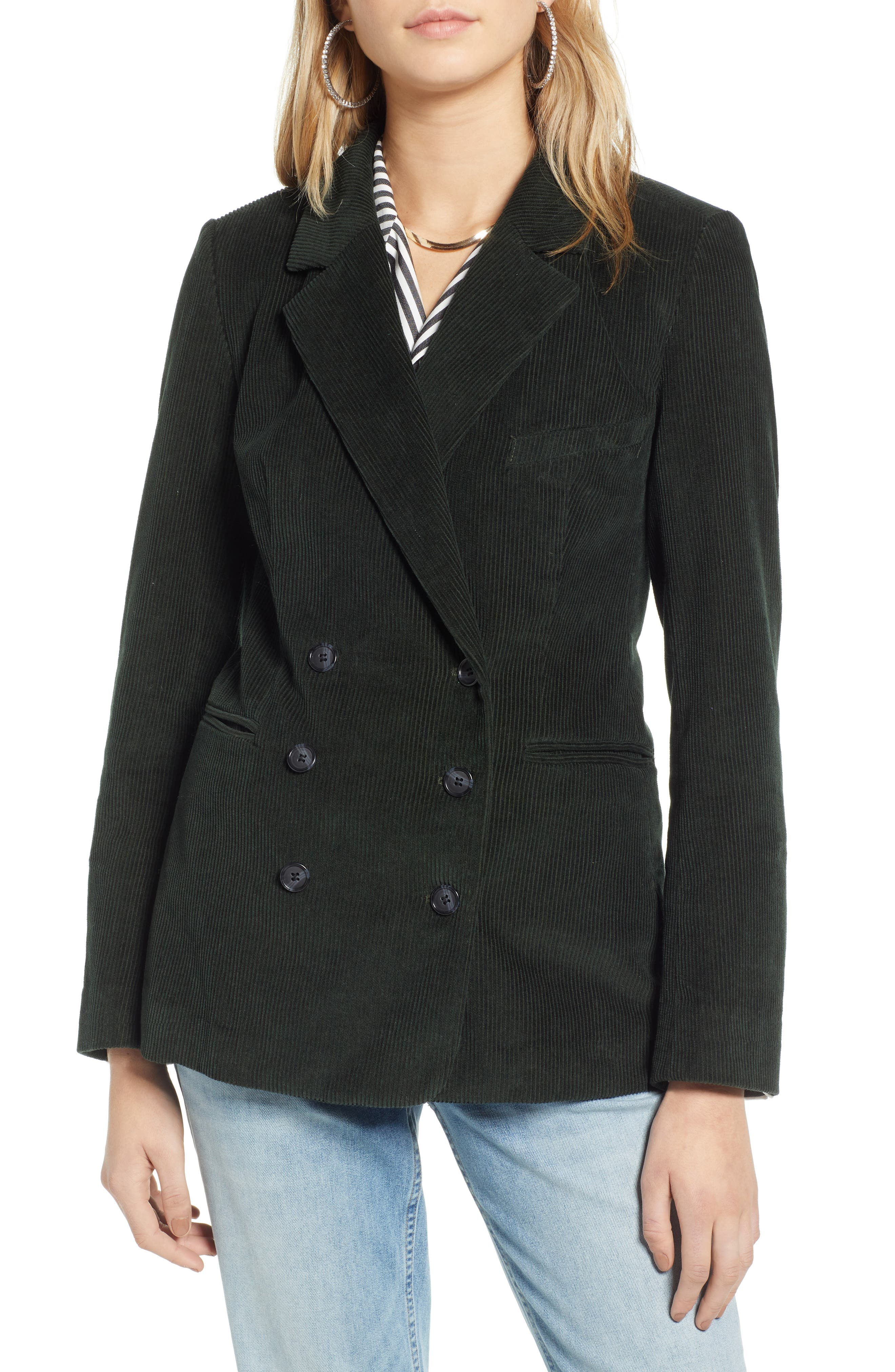 Double Breasted Corduroy Blazer,                             Alternate thumbnail 4, color,                             GREEN TIMBER
