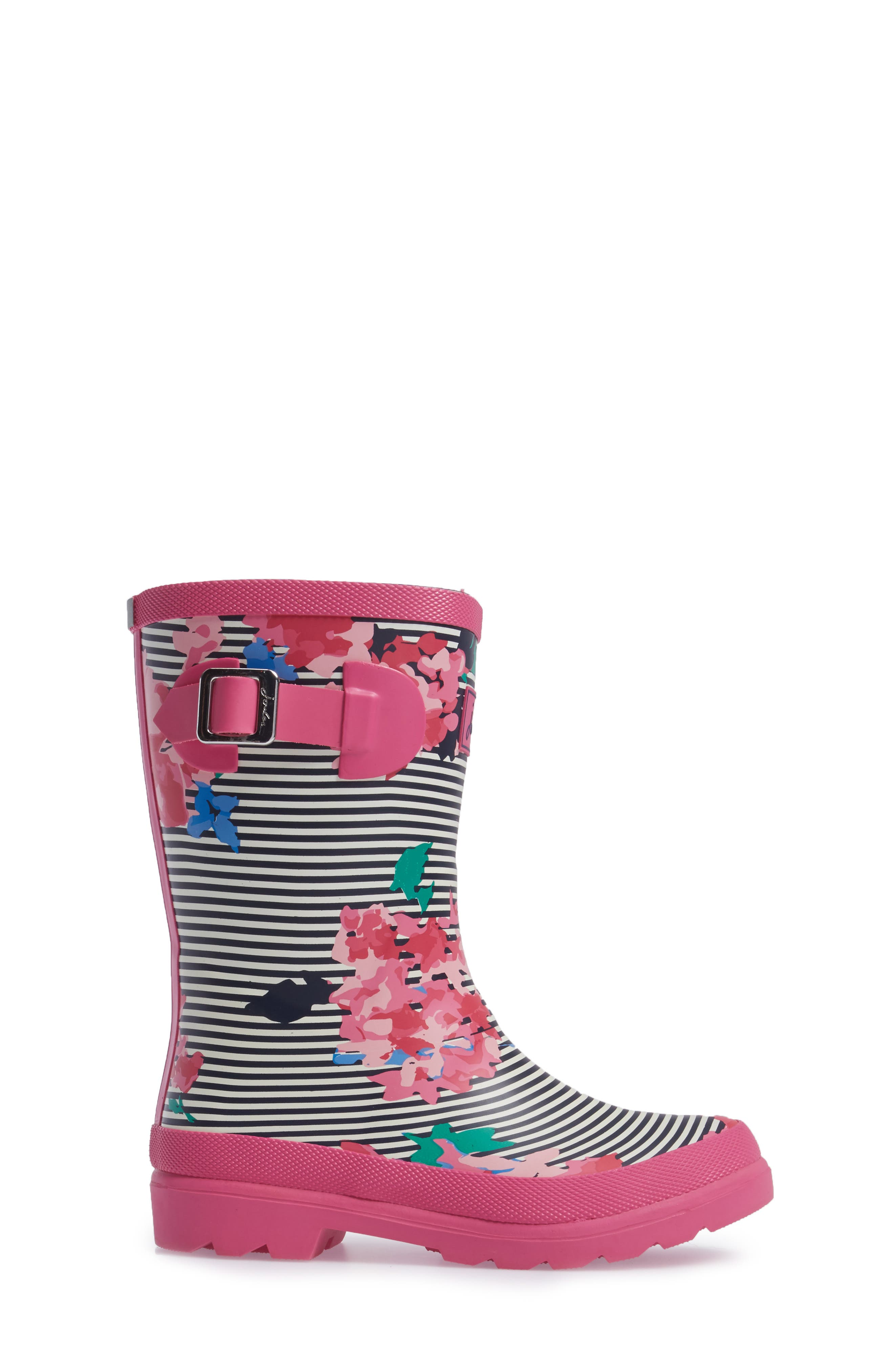 Welly Printed Waterproof Rain Boot,                             Alternate thumbnail 3, color,                             PINK STRIPE FLORAL