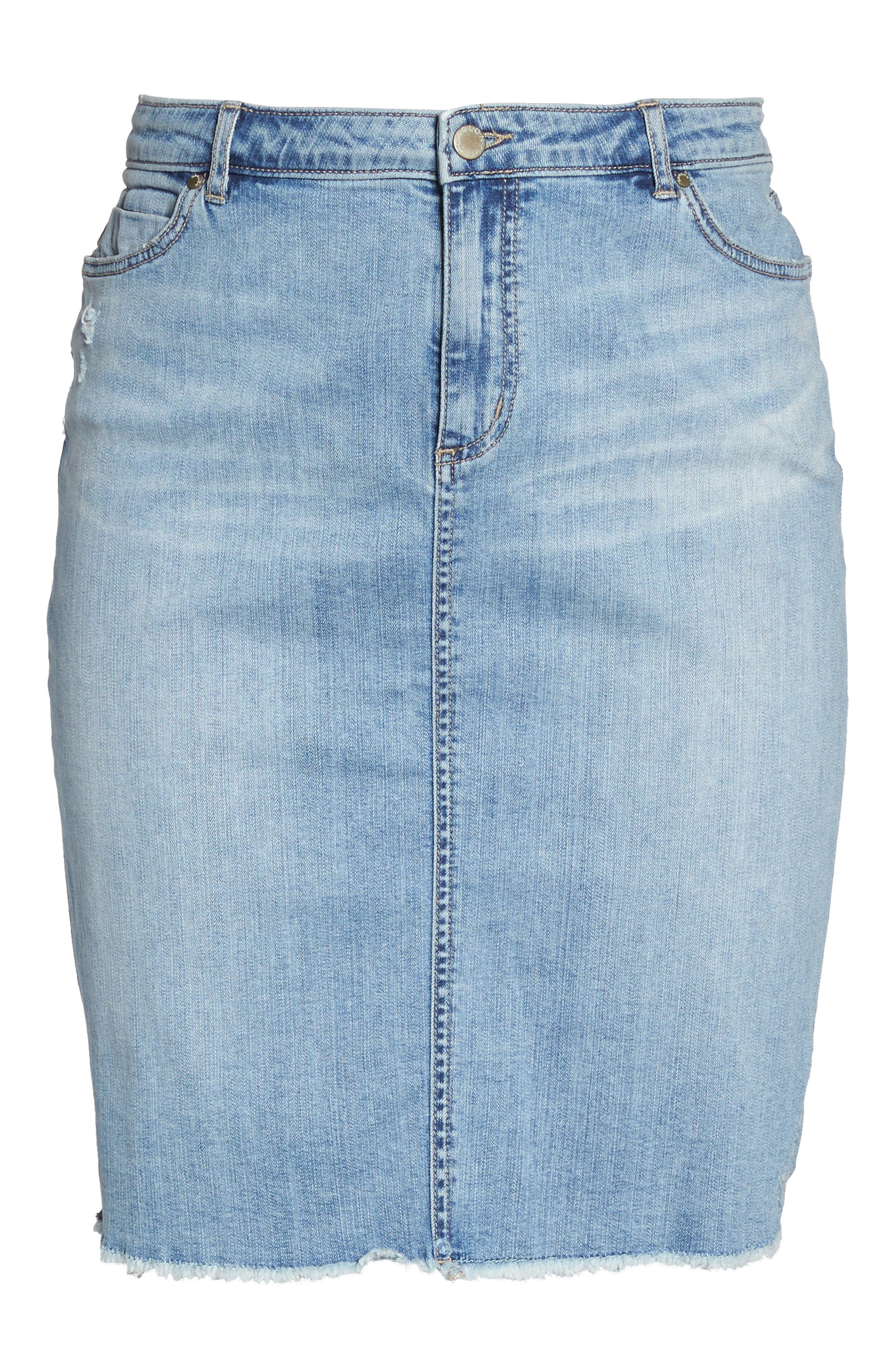 Raw Edge Denim Skirt,                             Alternate thumbnail 6, color,