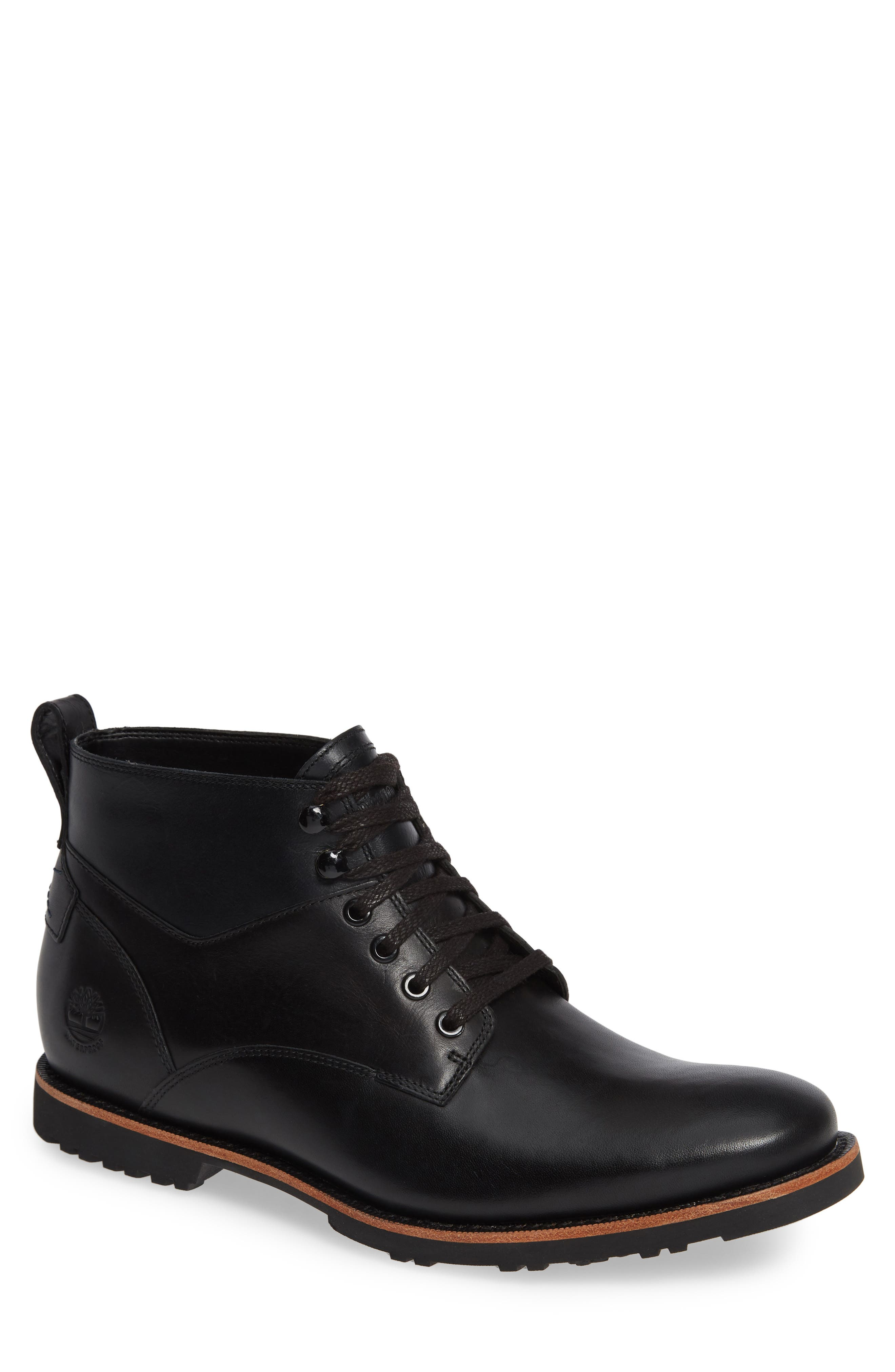 Kendrick Waterproof Chukka Boot,                         Main,                         color, JET BLACK/ NAVY LEATHER