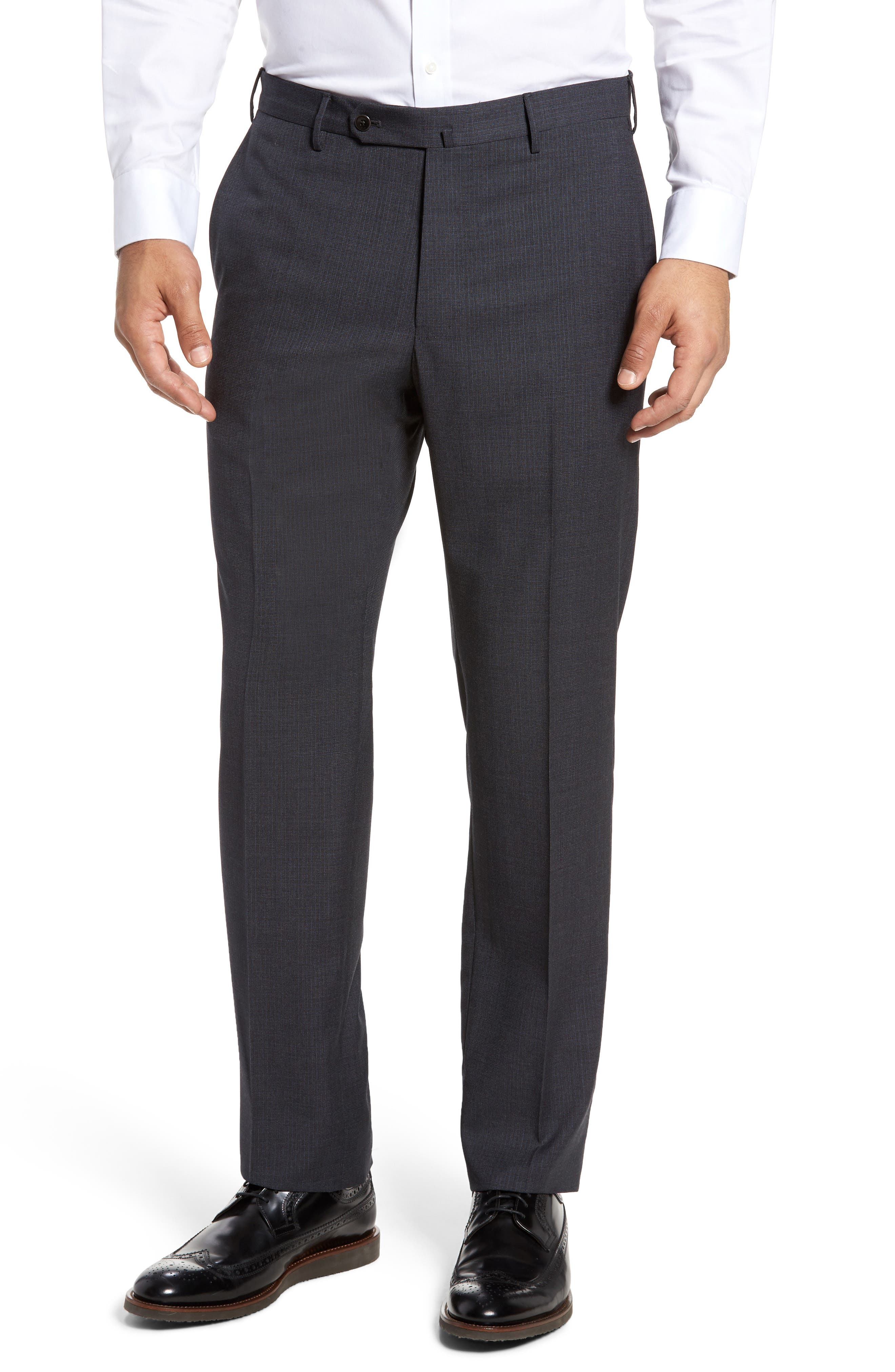 Benson Flat Front Wool Trousers,                             Main thumbnail 1, color,                             015