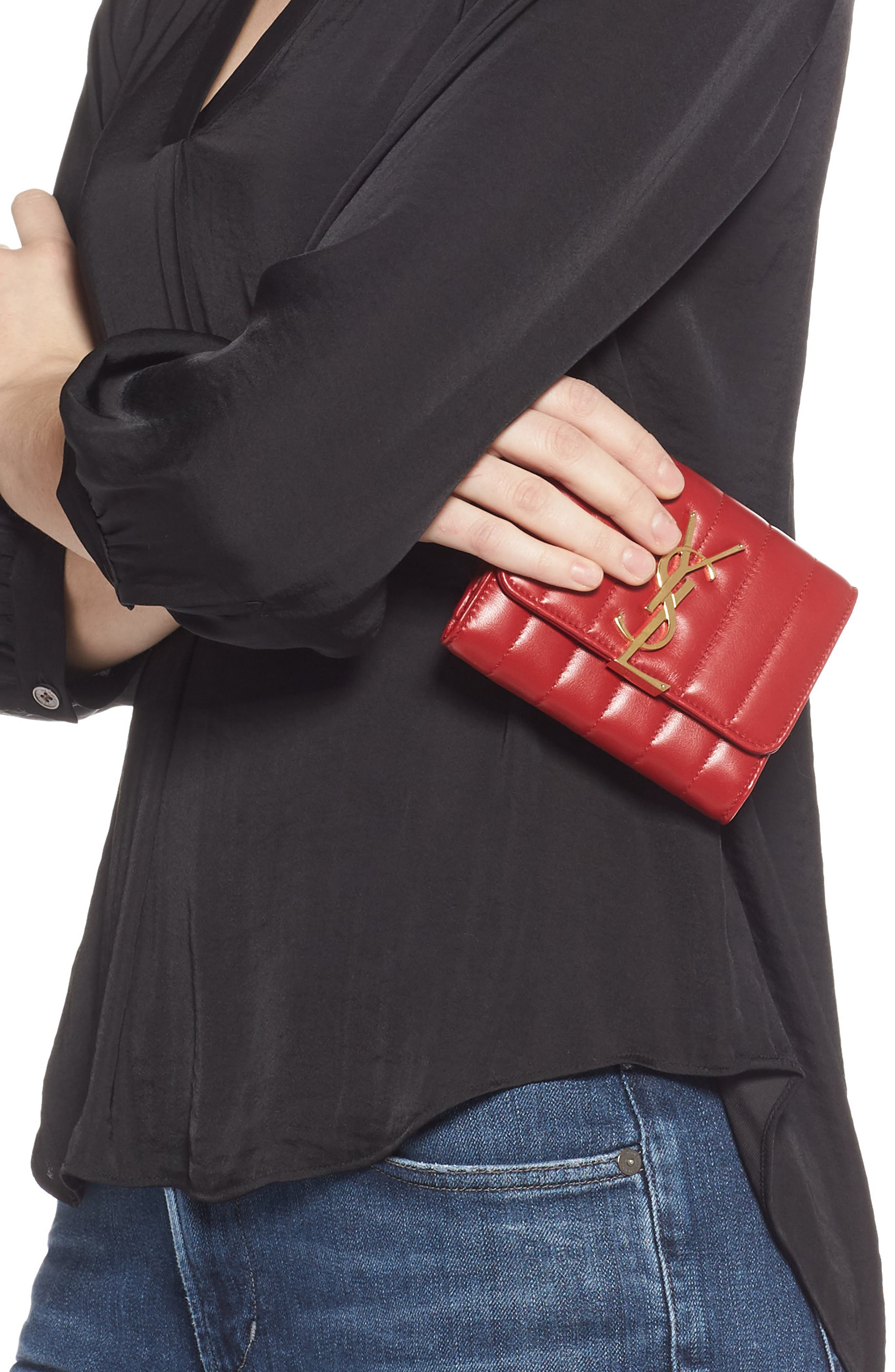 Vicky Lambskin Leather Trifold Wallet,                             Alternate thumbnail 3, color,                             ROUGE EROS