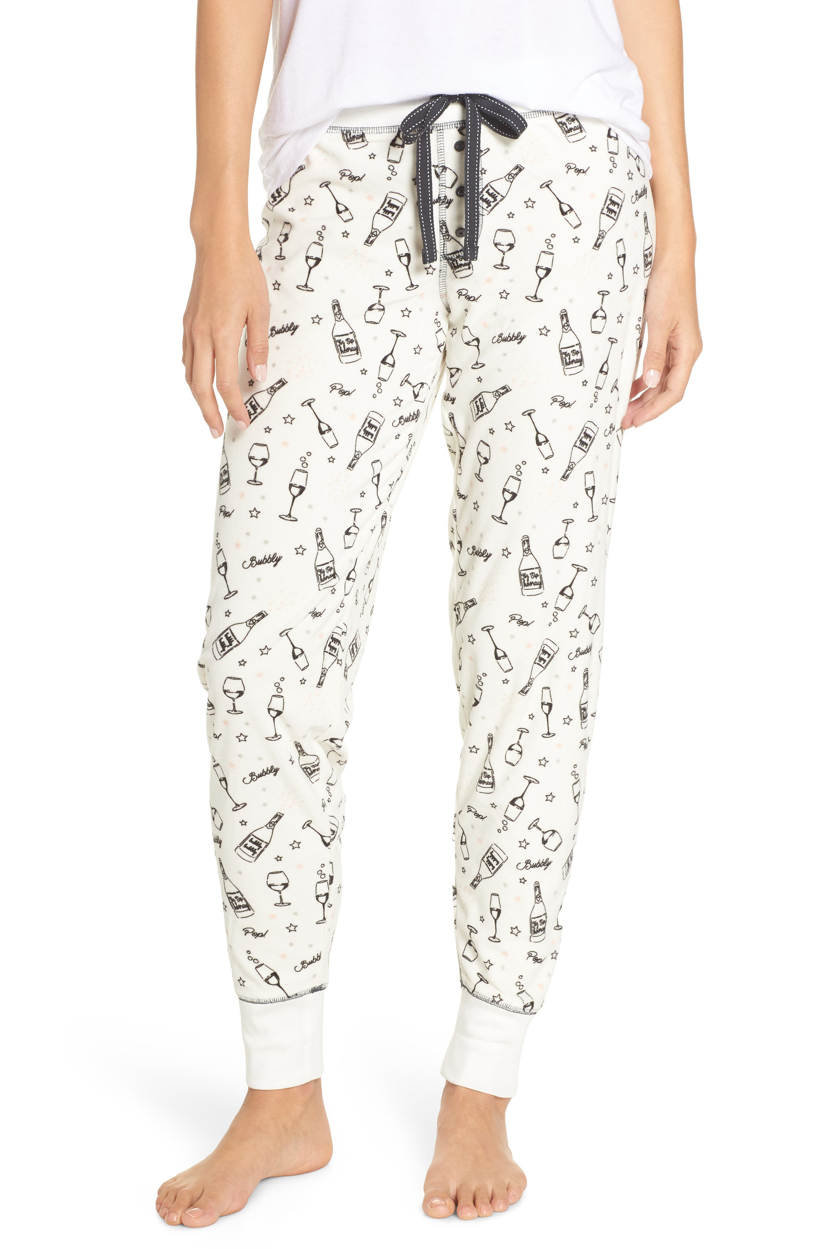 PJ SALVAGE Velour Pajama Pants in Ecru