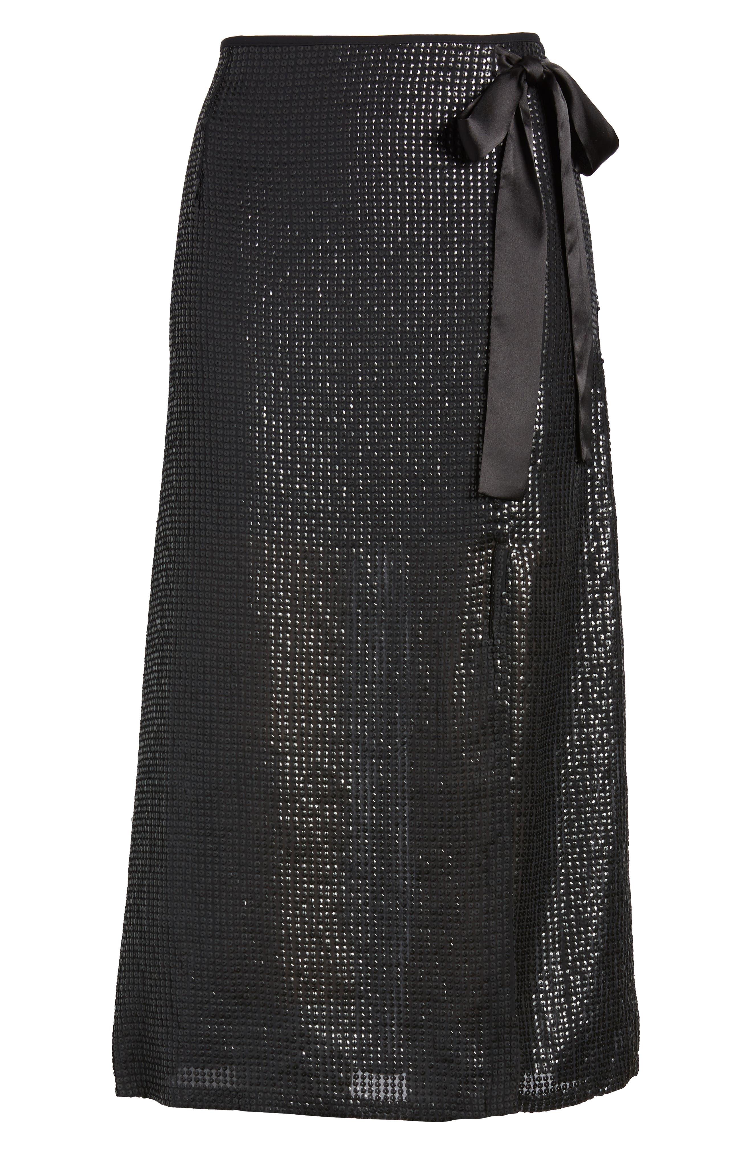 Wrap Sequin Midi Skirt,                             Alternate thumbnail 6, color,                             BLACK SEQUIN