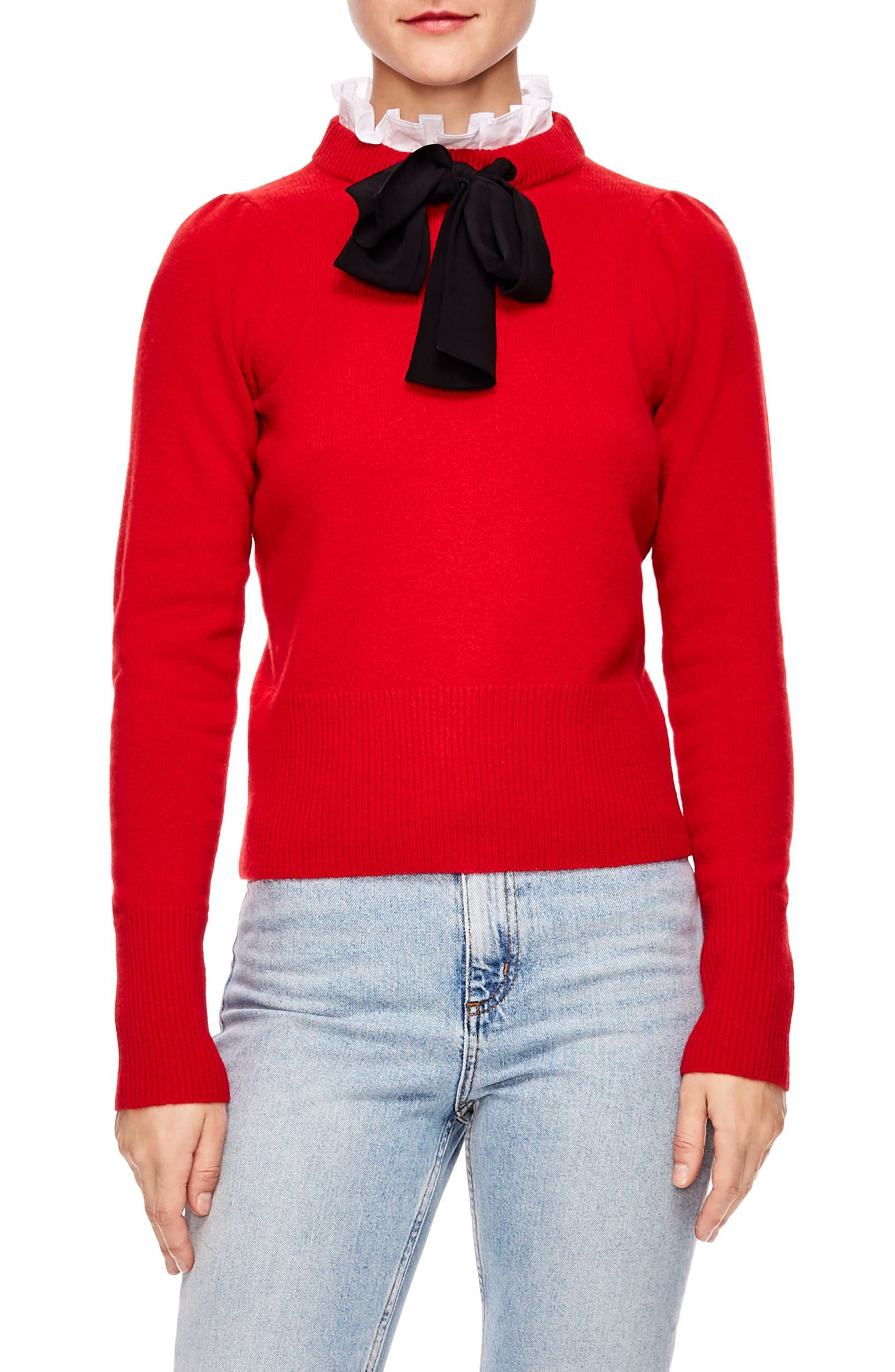 Tie Ruffle Neck Sweater,                         Main,                         color, RED