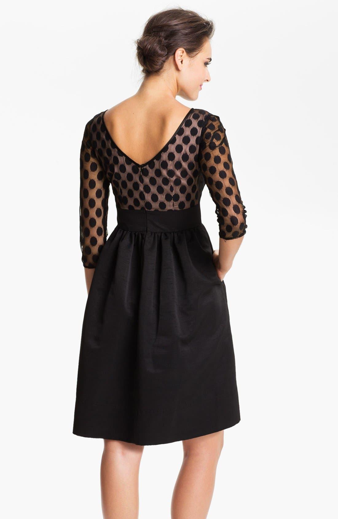 Dot Mesh Bodice Fit & Flare Dress,                             Alternate thumbnail 15, color,