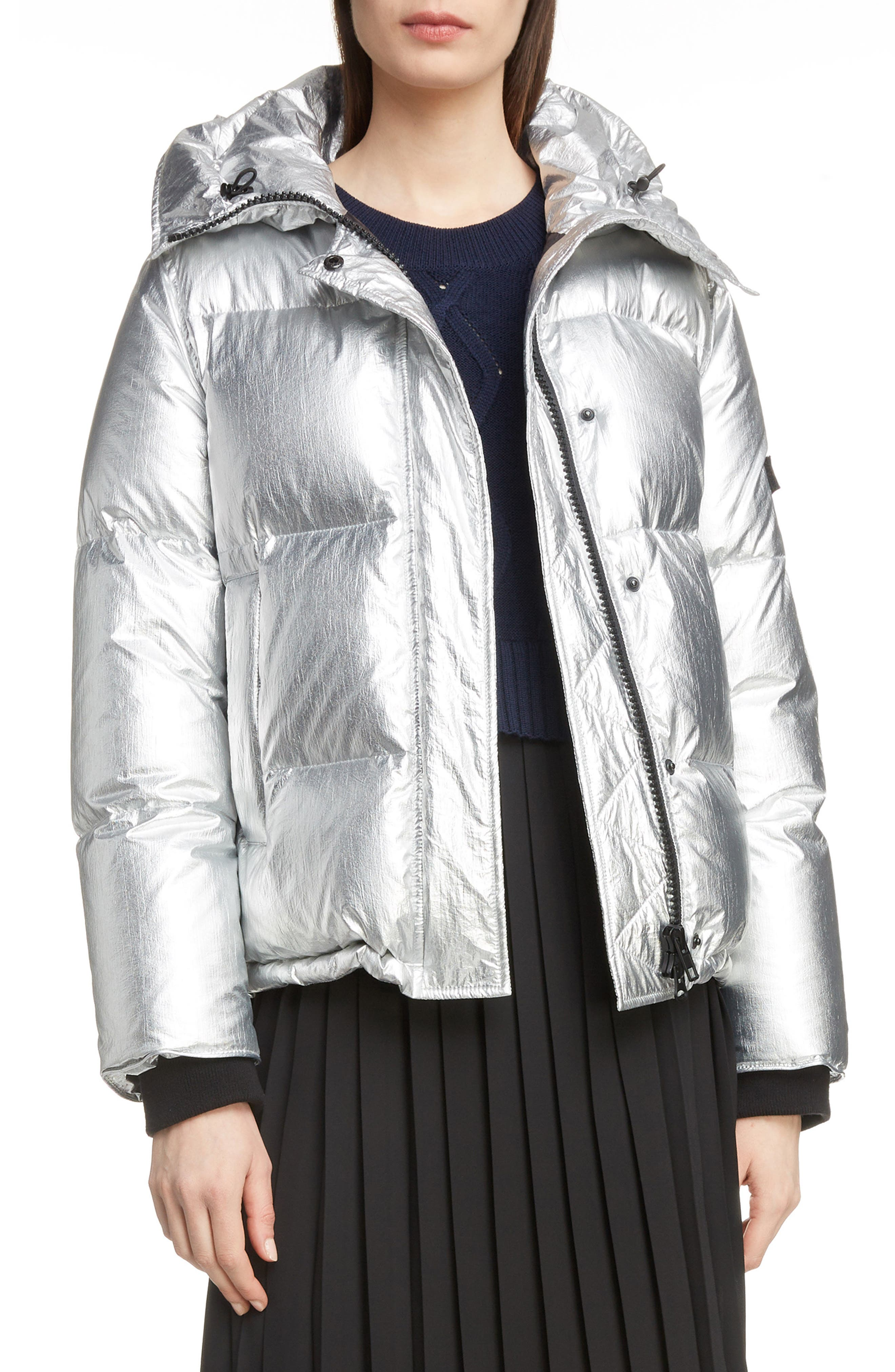 Metallic Down Puffer Coat,                         Main,                         color, 040
