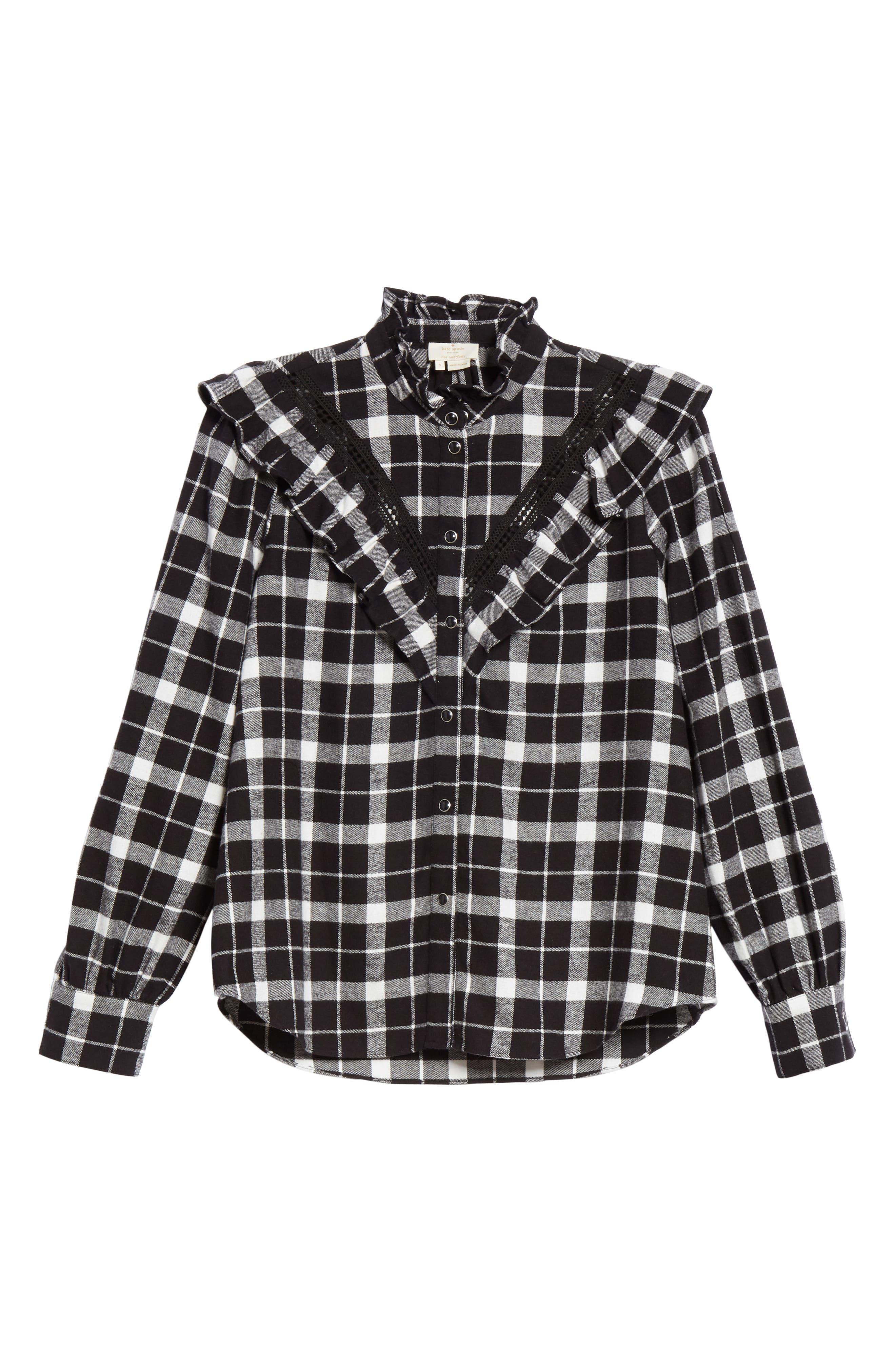 rustic plaid flannel shirt,                             Alternate thumbnail 6, color,                             001