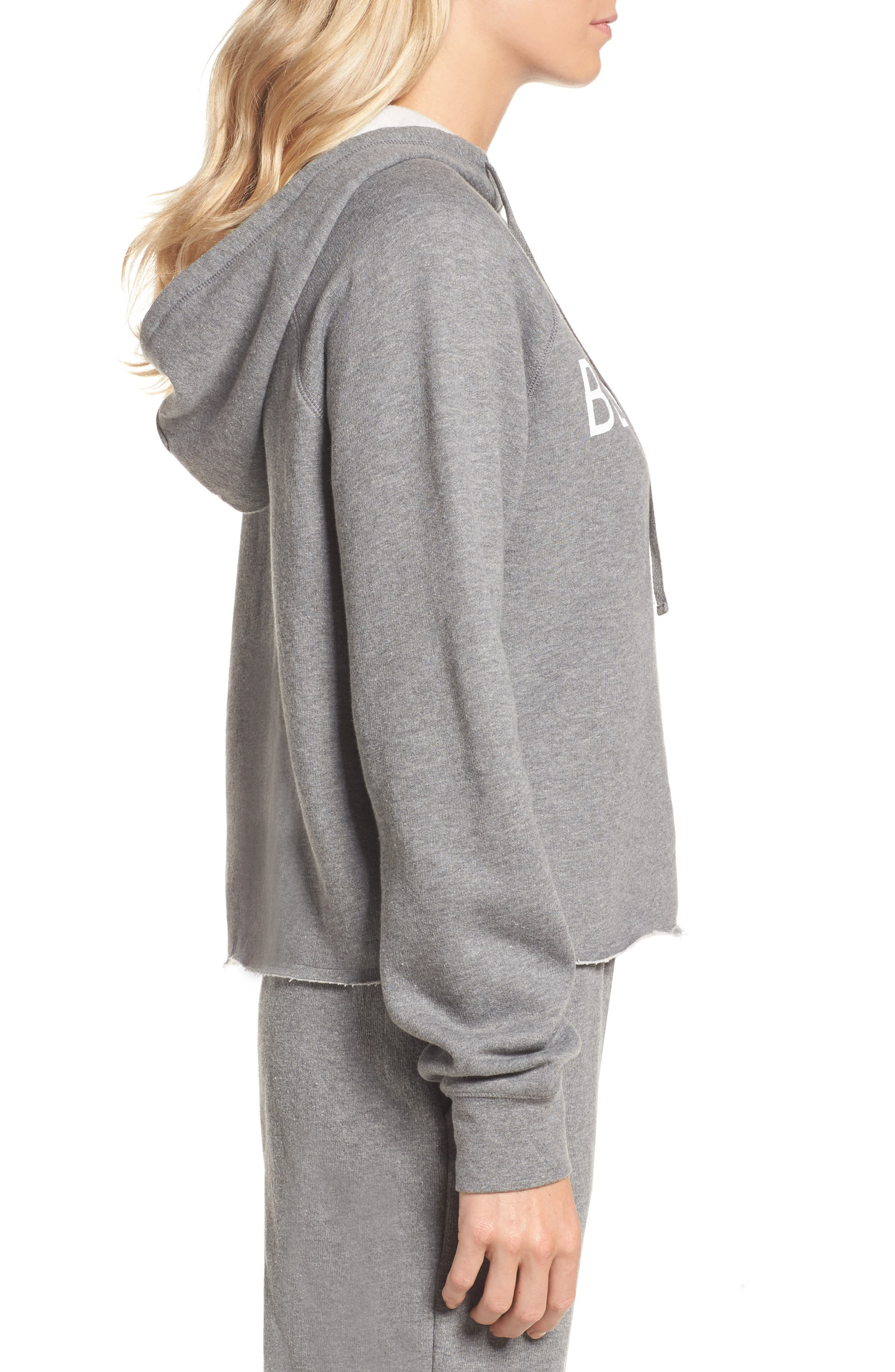 Blonde Raw Hem Hoodie,                             Alternate thumbnail 3, color,                             HEATHER GREY WHITE