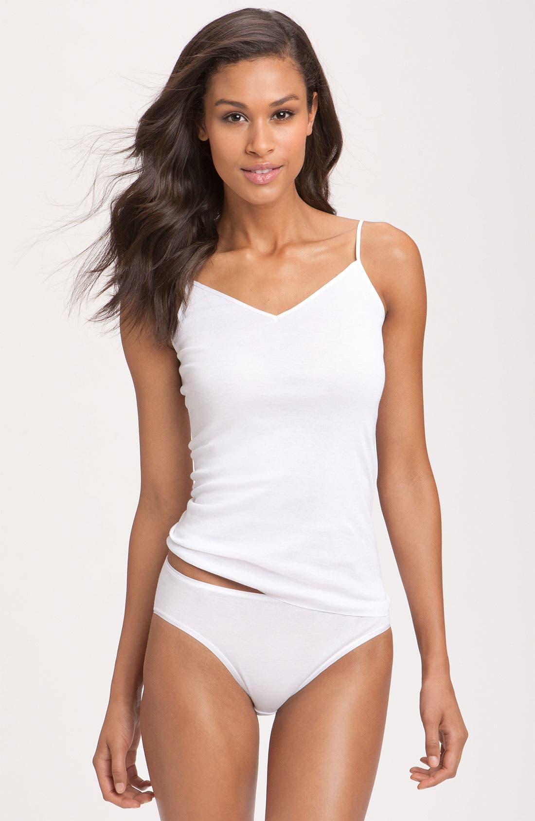 Hanro Seamless V-Neck Cotton Camisole, White