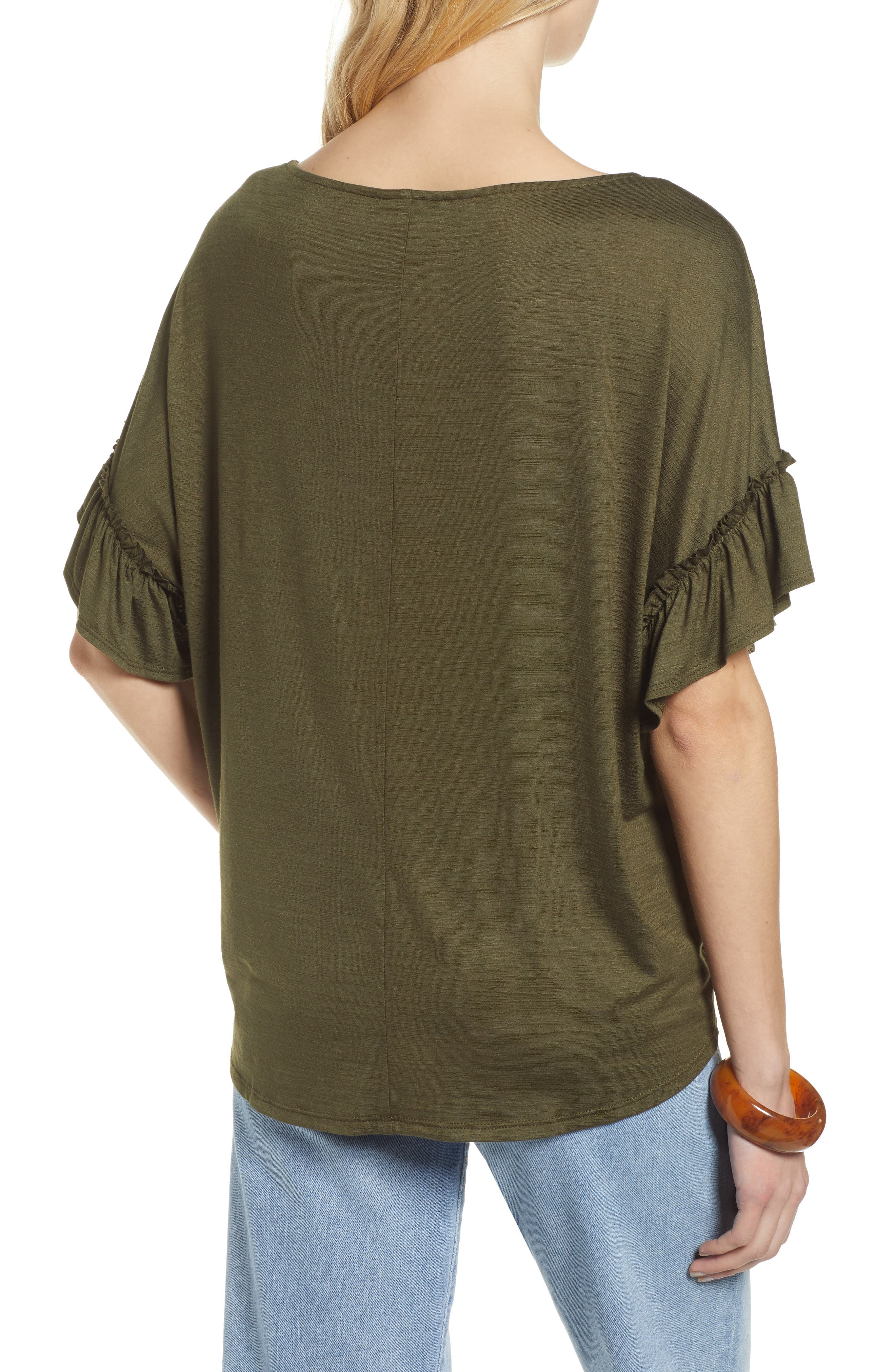 Ruffle Sleeve Top,                             Alternate thumbnail 2, color,                             OLIVE