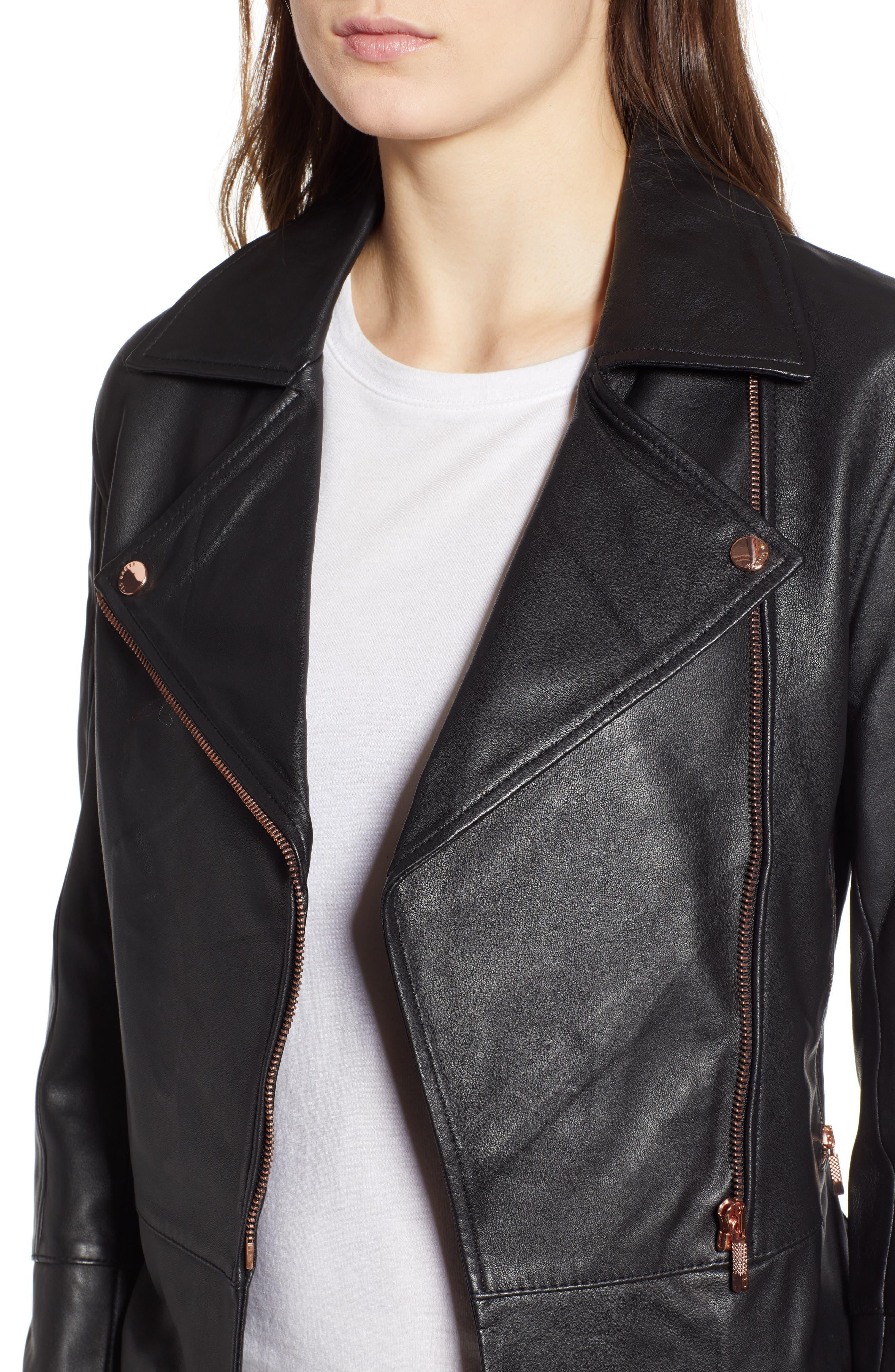 Lizia Minimal Biker Jacket,                             Alternate thumbnail 4, color,                             BLACK