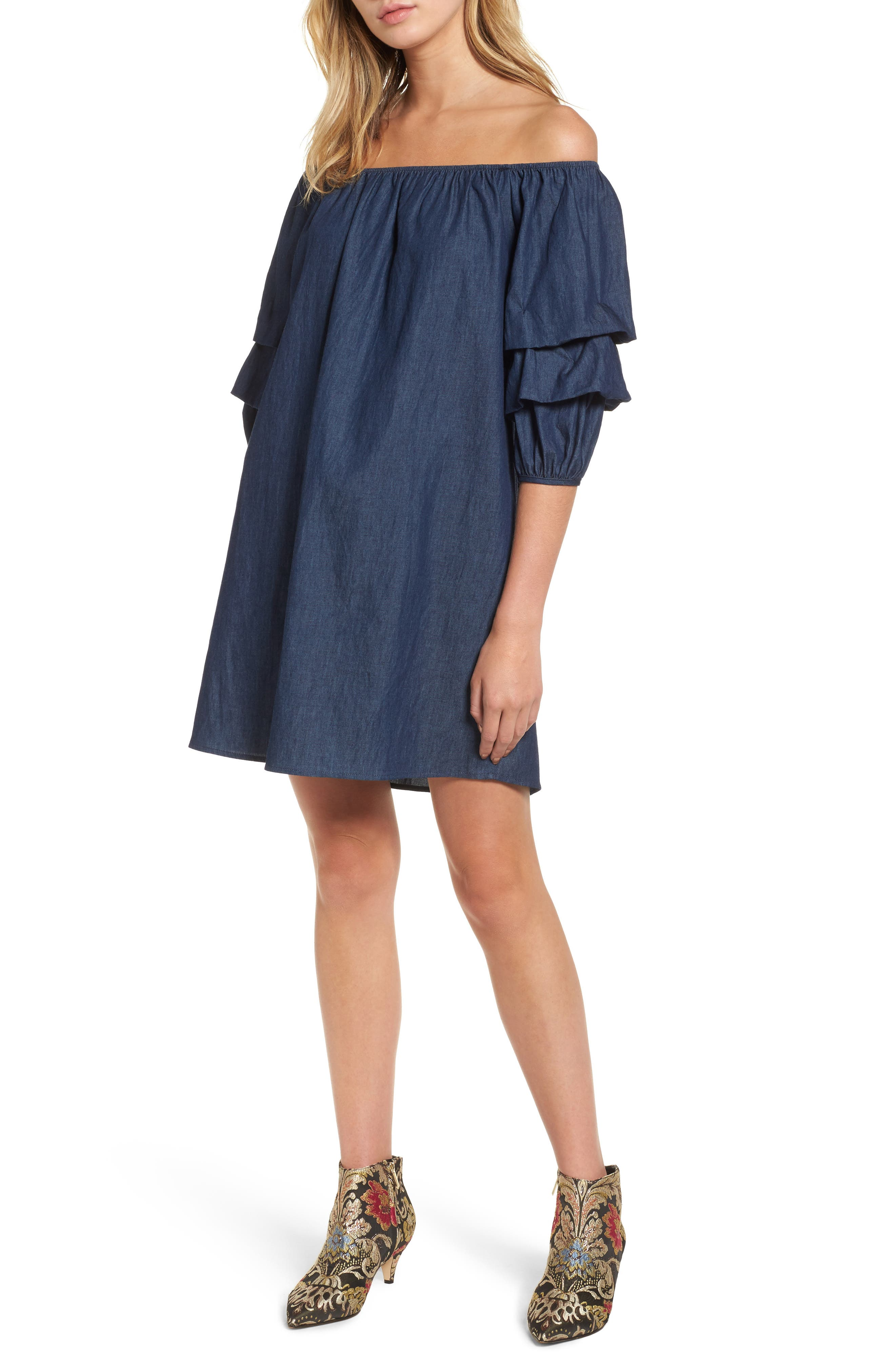 Off the Shoulder Denim Dress,                             Main thumbnail 1, color,                             401