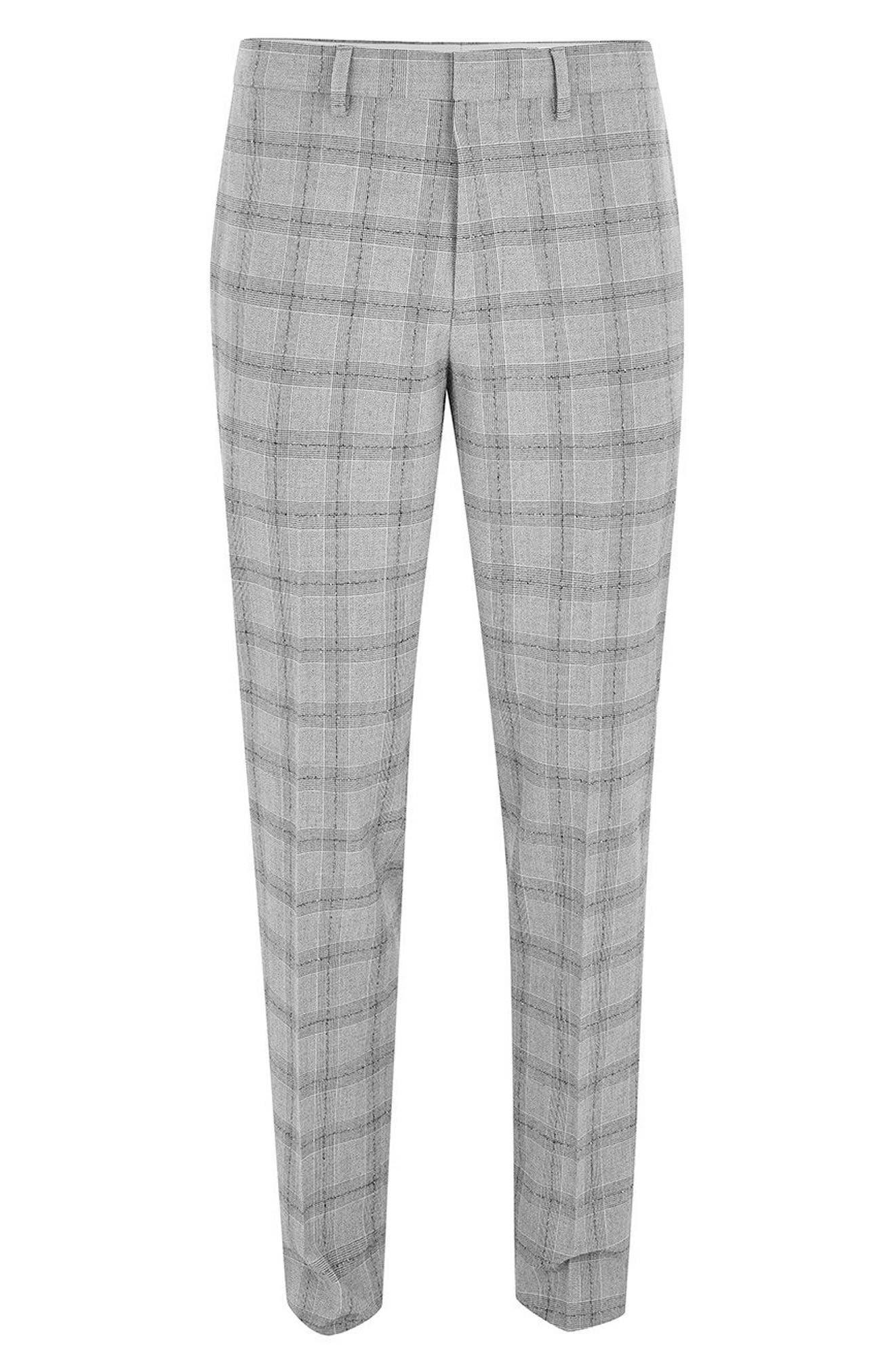 Check Suit Trousers,                             Alternate thumbnail 4, color,                             Grey/ Black