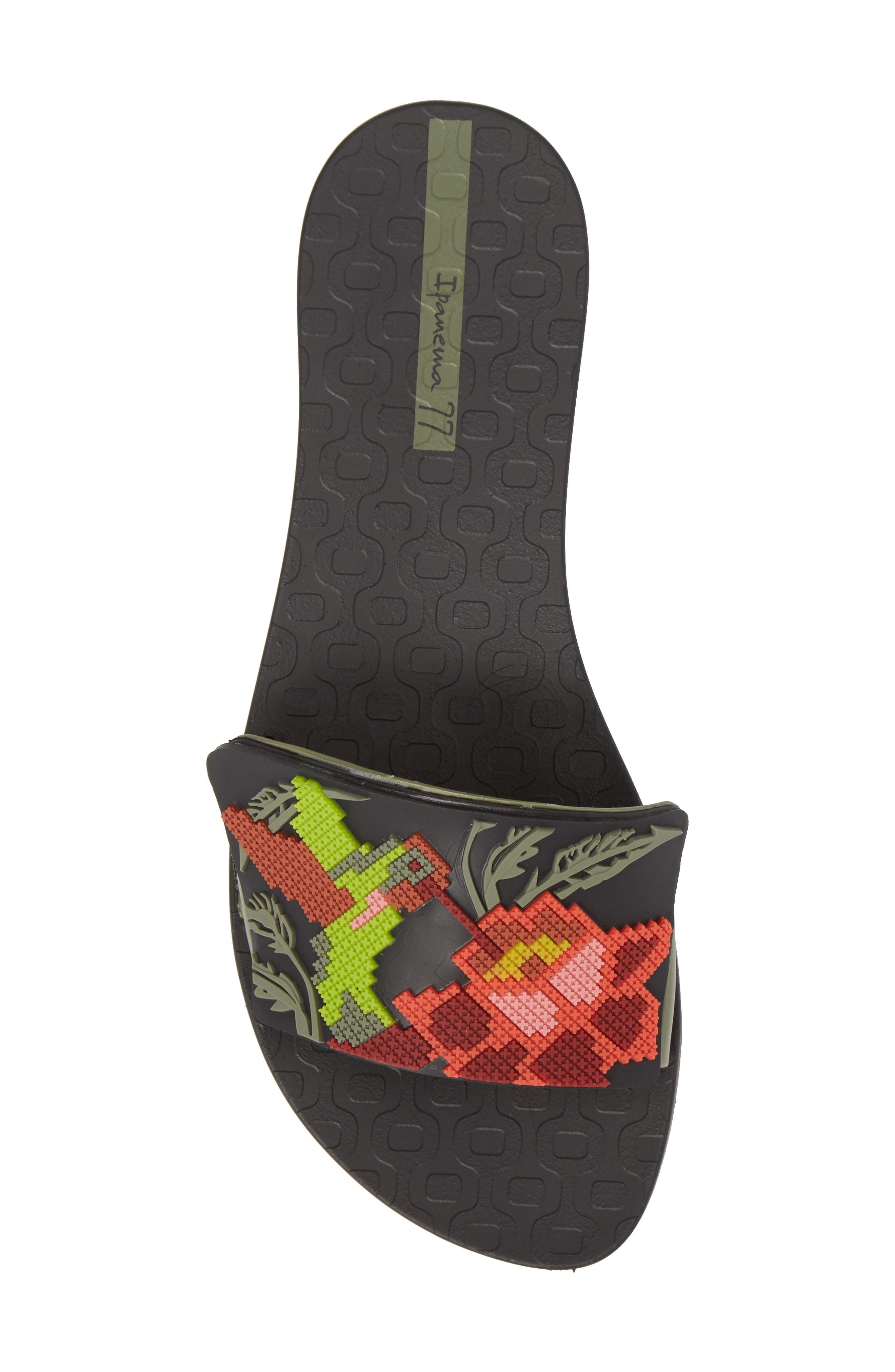 Nectar Floral Slide Sandal,                             Alternate thumbnail 5, color,                             BLACK/ GREEN