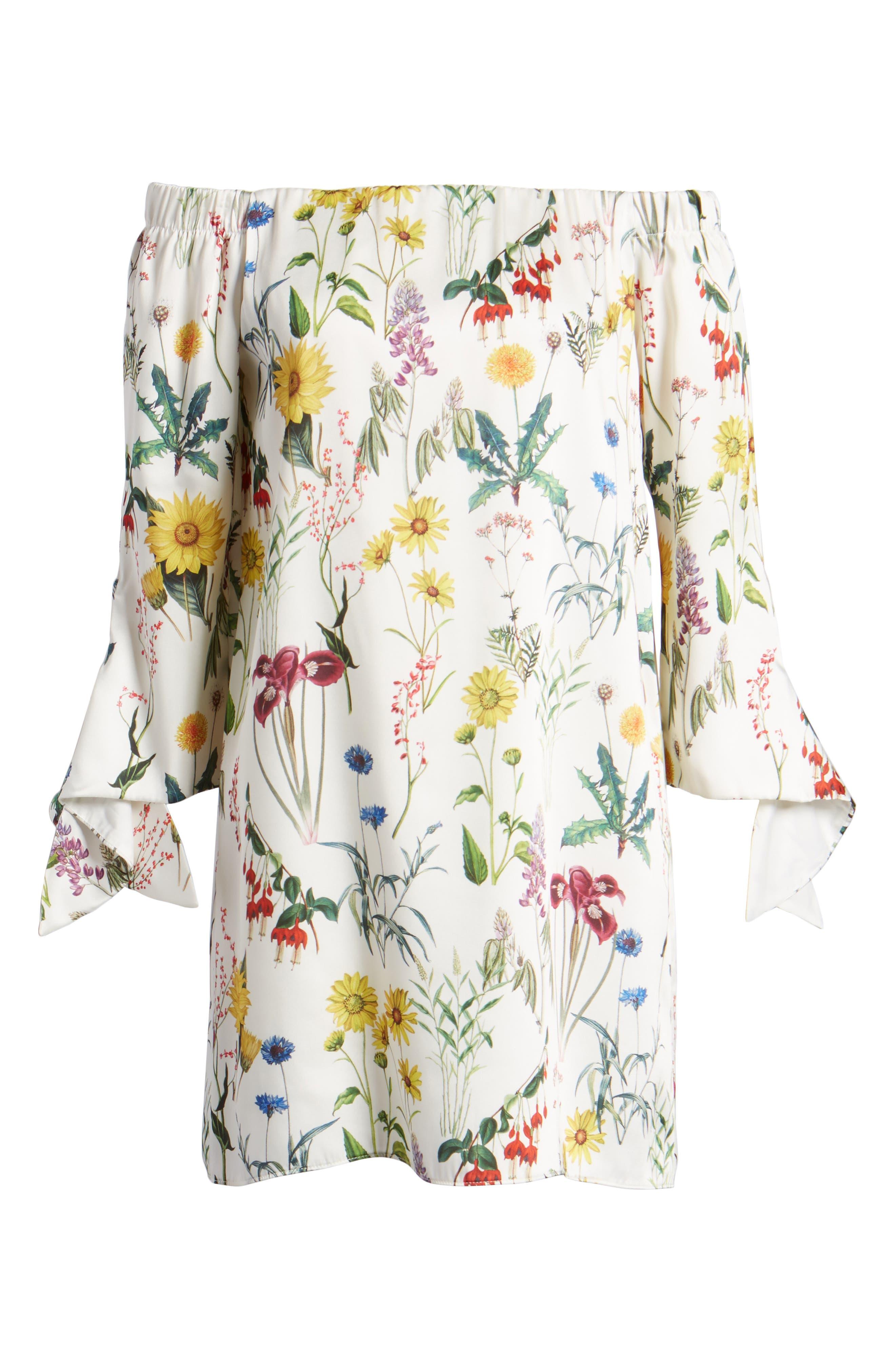 Botanical Off the Shoulder Shift Dress,                             Alternate thumbnail 6, color,                             105