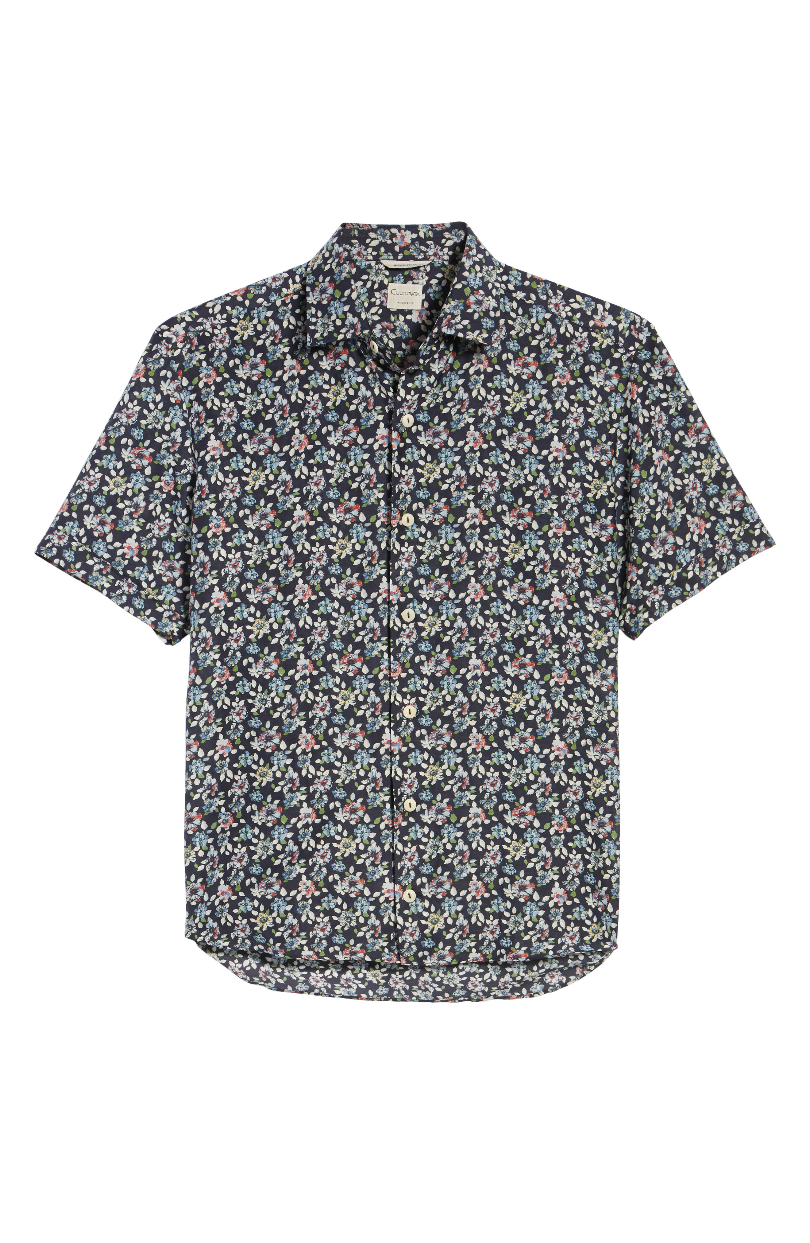 Trim Fit Print Cotton & Silk Sport Shirt,                             Alternate thumbnail 6, color,