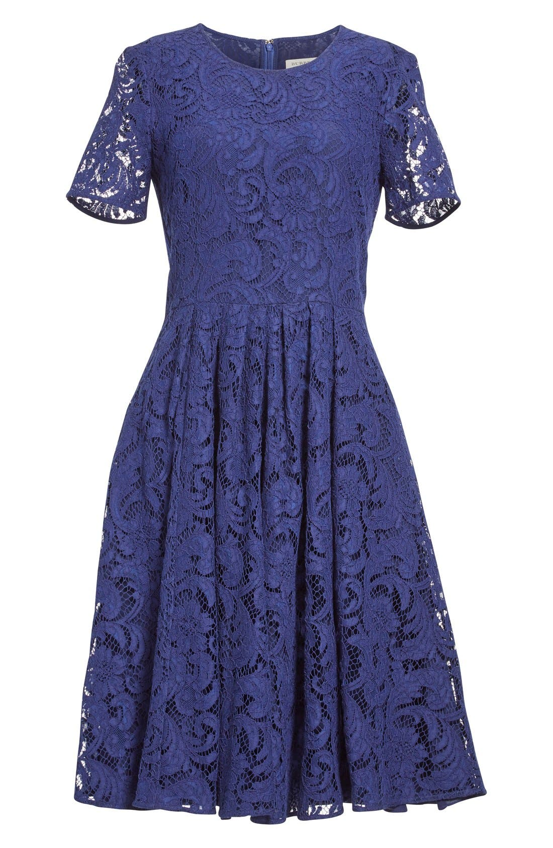BURBERRY LONDON,                             'Alice' Short Sleeve Corded Lace Fit & Flare Dress,                             Alternate thumbnail 2, color,                             495