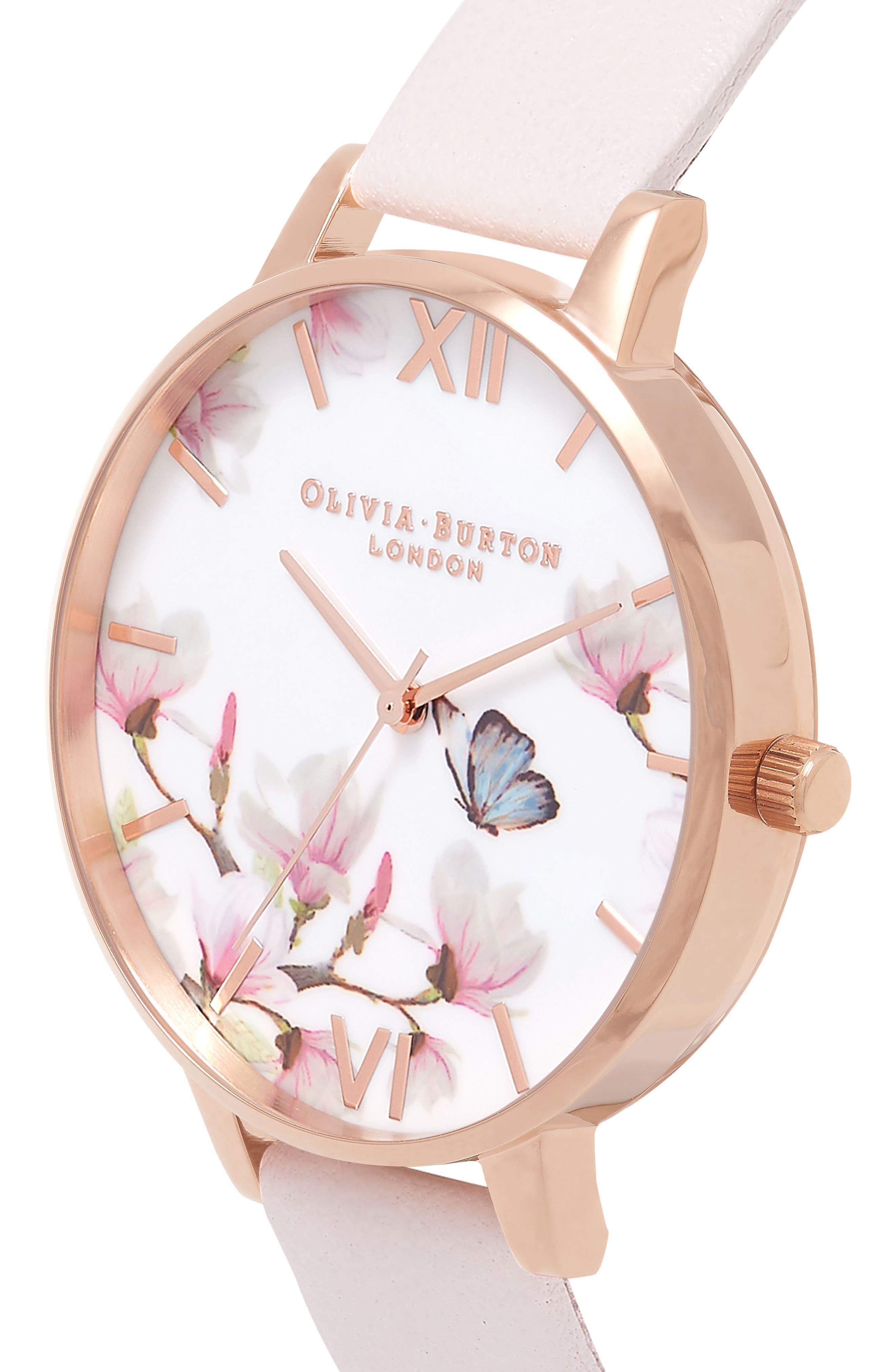 Pretty Blossom Leather Strap Watch, 38mm,                             Alternate thumbnail 4, color,                             BLOSSOM/ WHITE/ ROSE GOLD