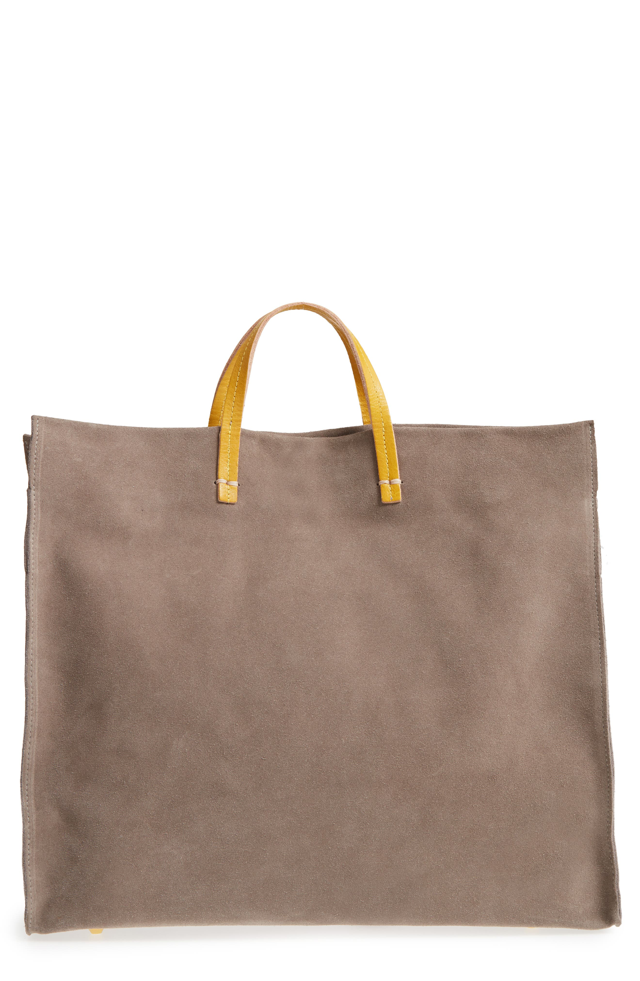 Simple Suede Tote,                             Main thumbnail 1, color,                             TAUPE/ YELLOW RUSTIC