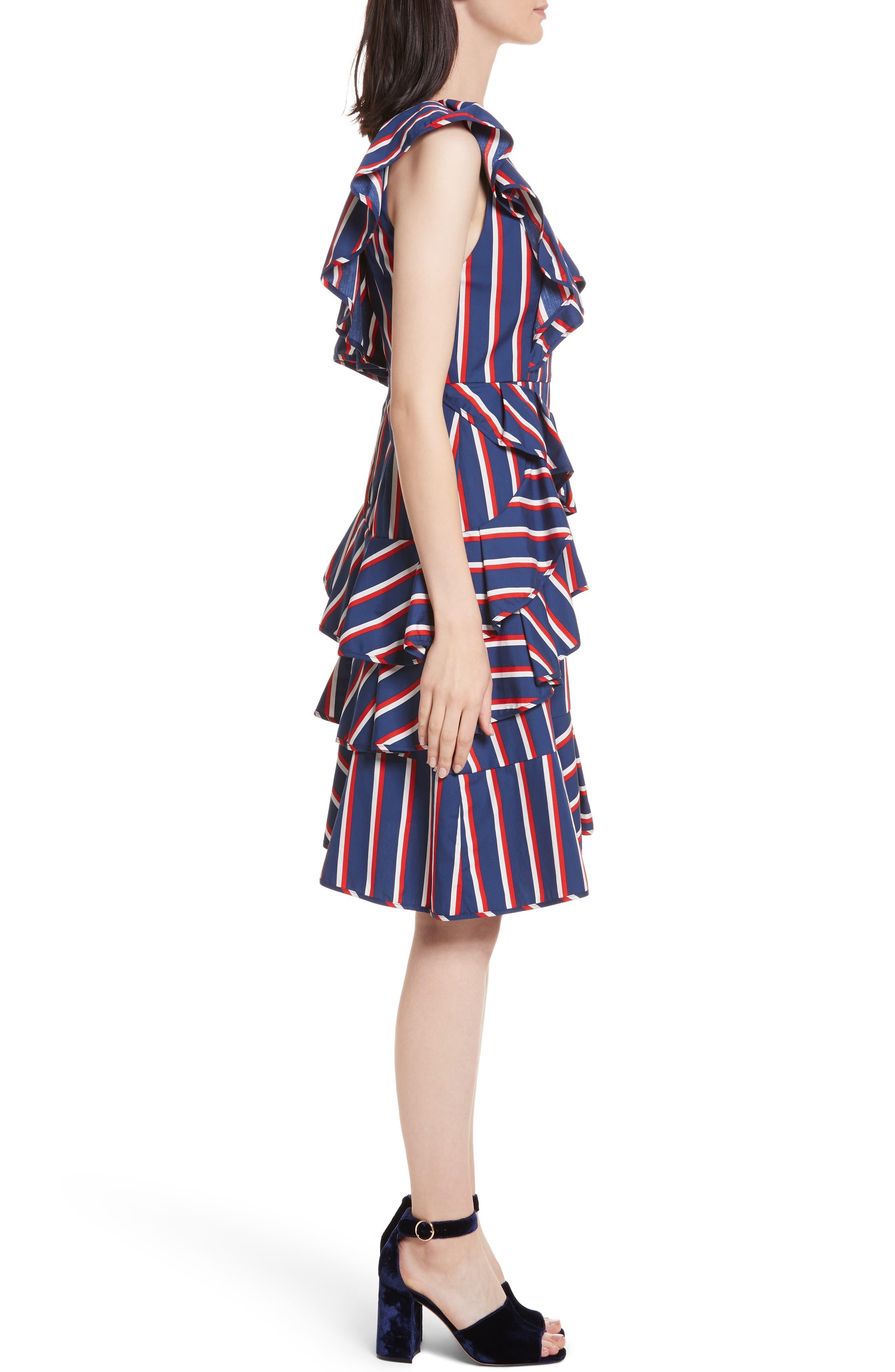 Laflora Aymmetrical Ruffle Midi Dress,                             Alternate thumbnail 3, color,                             475