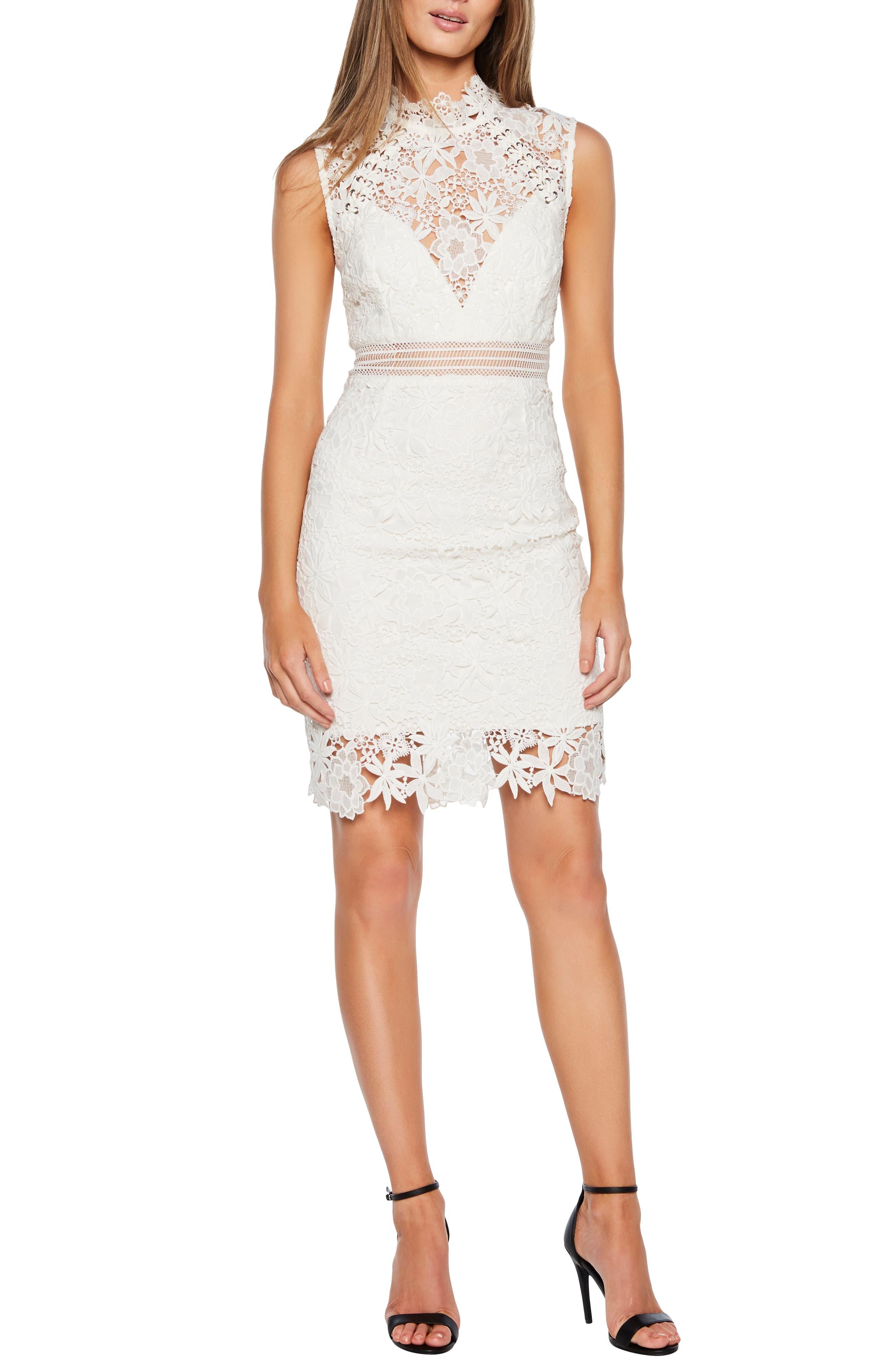 BARDOT Paris Lace Body-Con Dress, Main, color, IVORY