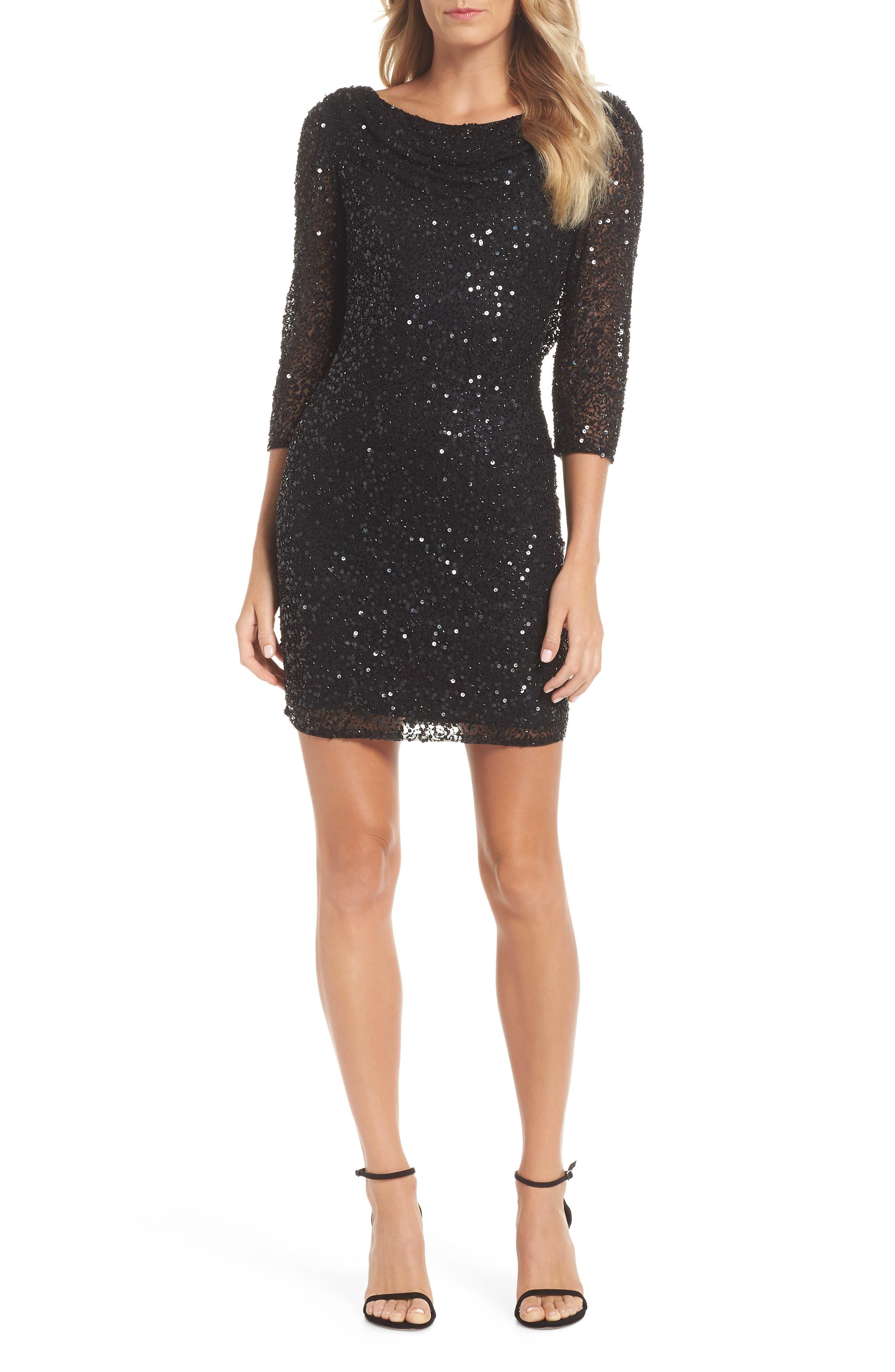 Embellished Cocktail Dress,                             Main thumbnail 1, color,                             BLACK
