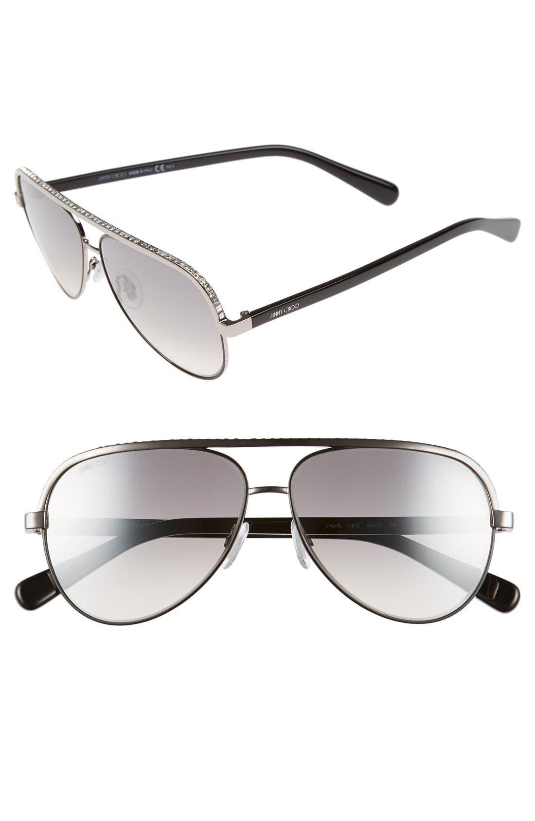 'Linas' 59mm Aviator Sunglasses,                         Main,                         color,