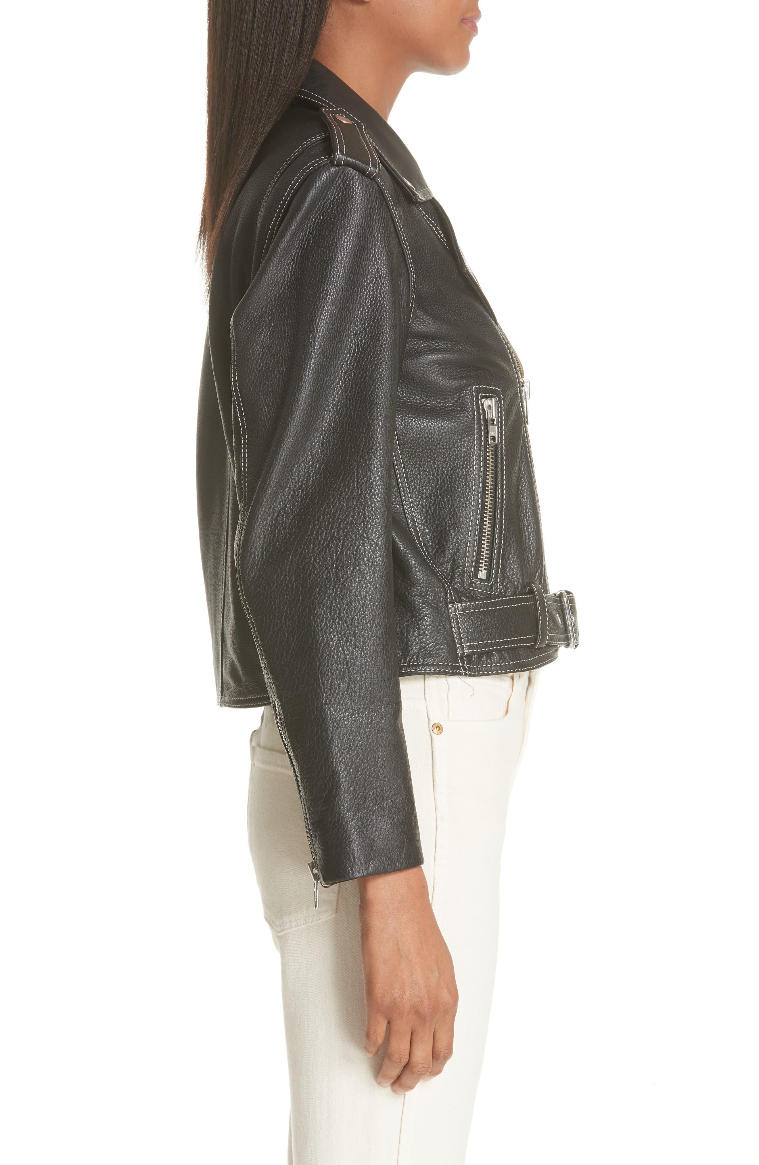 GANNI,                             Angela Leather Jacket,                             Alternate thumbnail 3, color,                             099