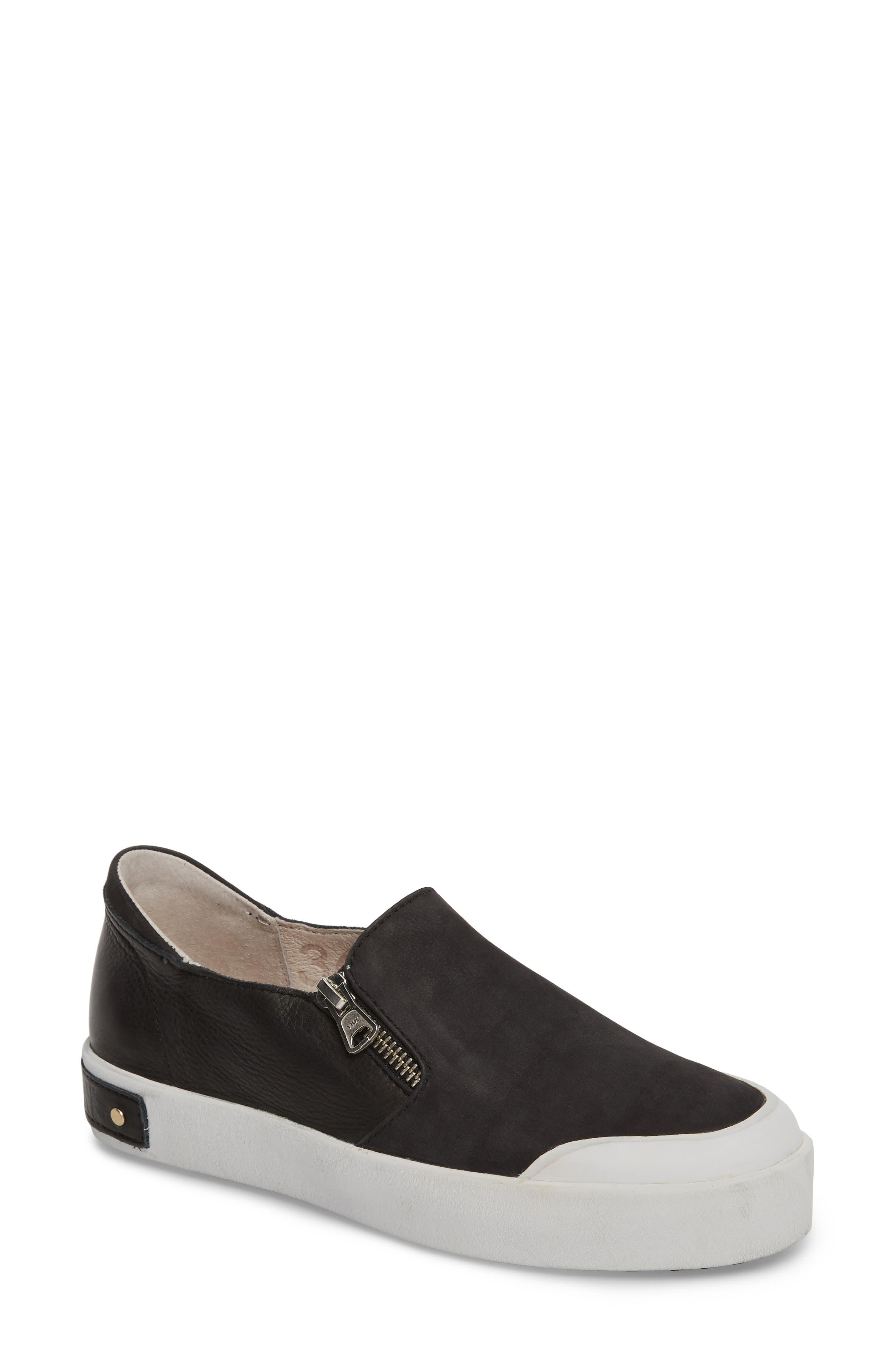 PL82 Slip-On Sneaker,                             Main thumbnail 1, color,                             BLACK LEATHER
