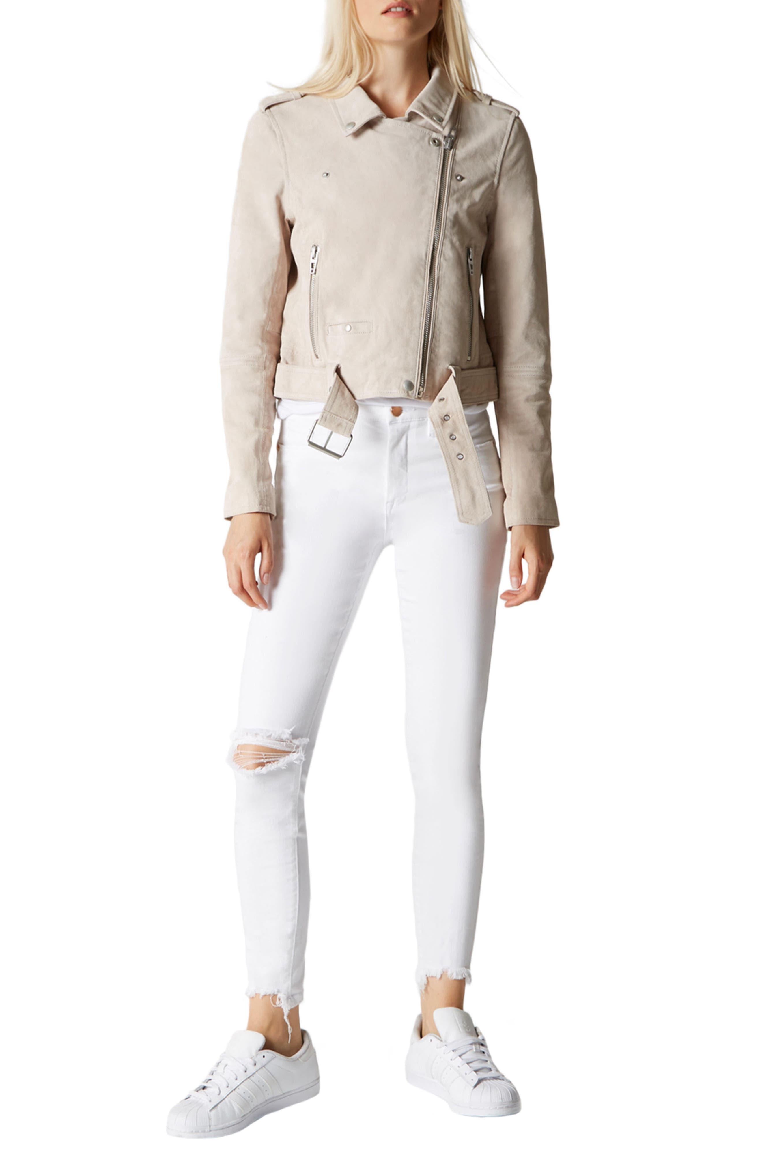 BLANKNYC,                             Suede Moto Jacket,                             Alternate thumbnail 4, color,                             020