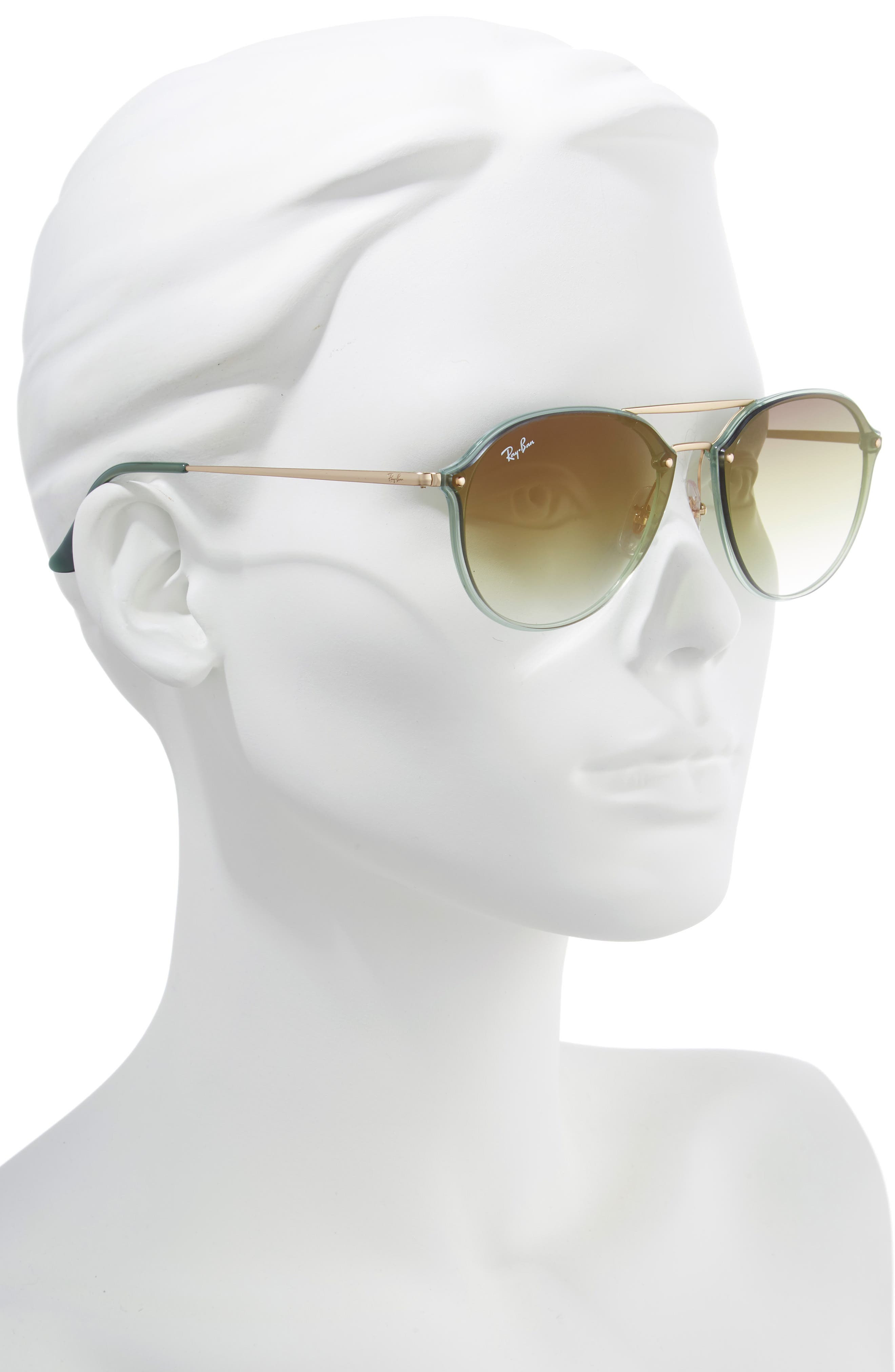 61mm Gradient Aviator Sunglasses,                             Alternate thumbnail 2, color,                             GREEN/ GOLD GRADIENT