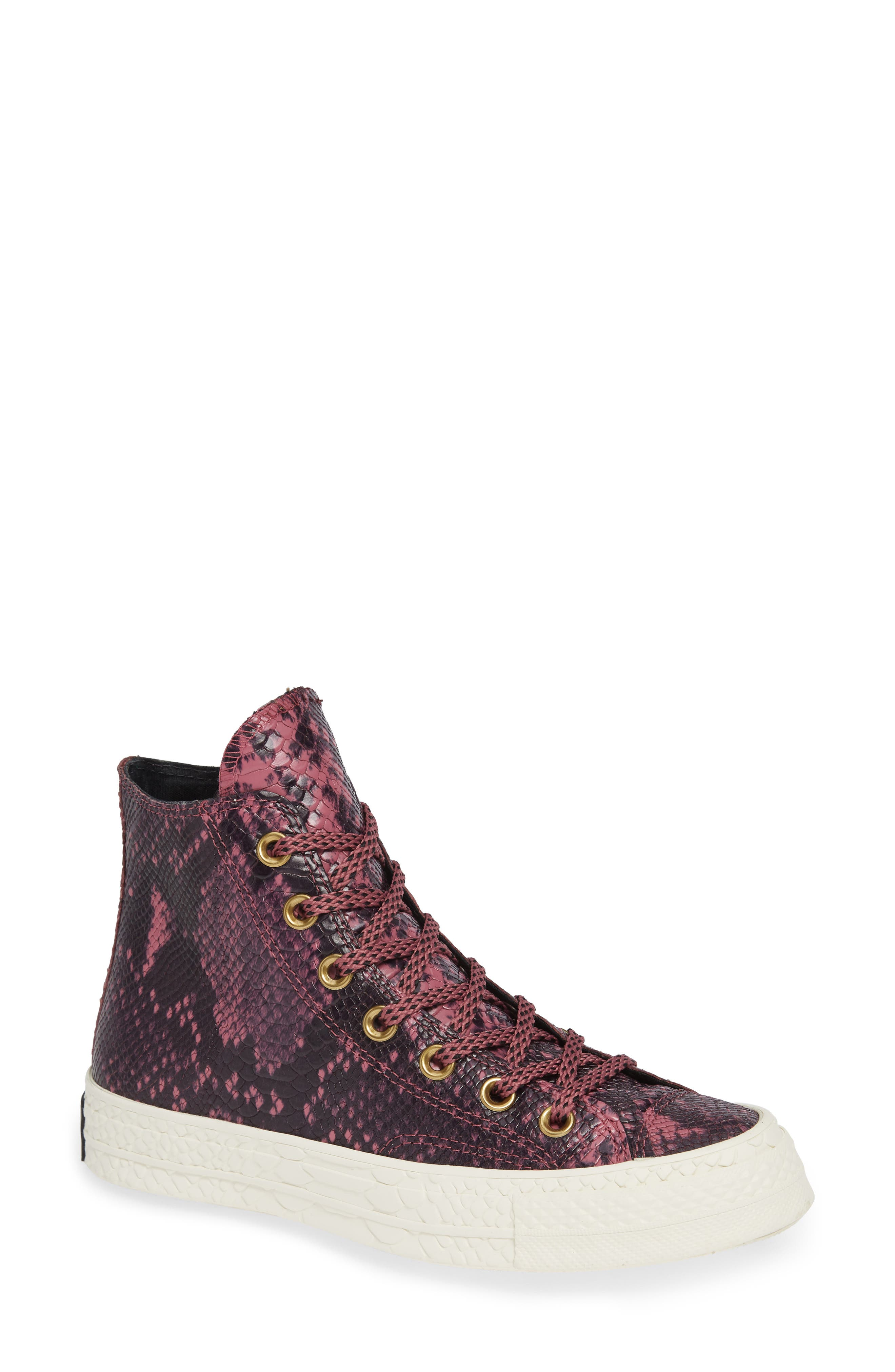 Chuck Taylor<sup>®</sup> All Star<sup>®</sup> CT 70 Reptile High Top Sneaker,                             Main thumbnail 1, color,                             VINTAGE WINE LEATHER