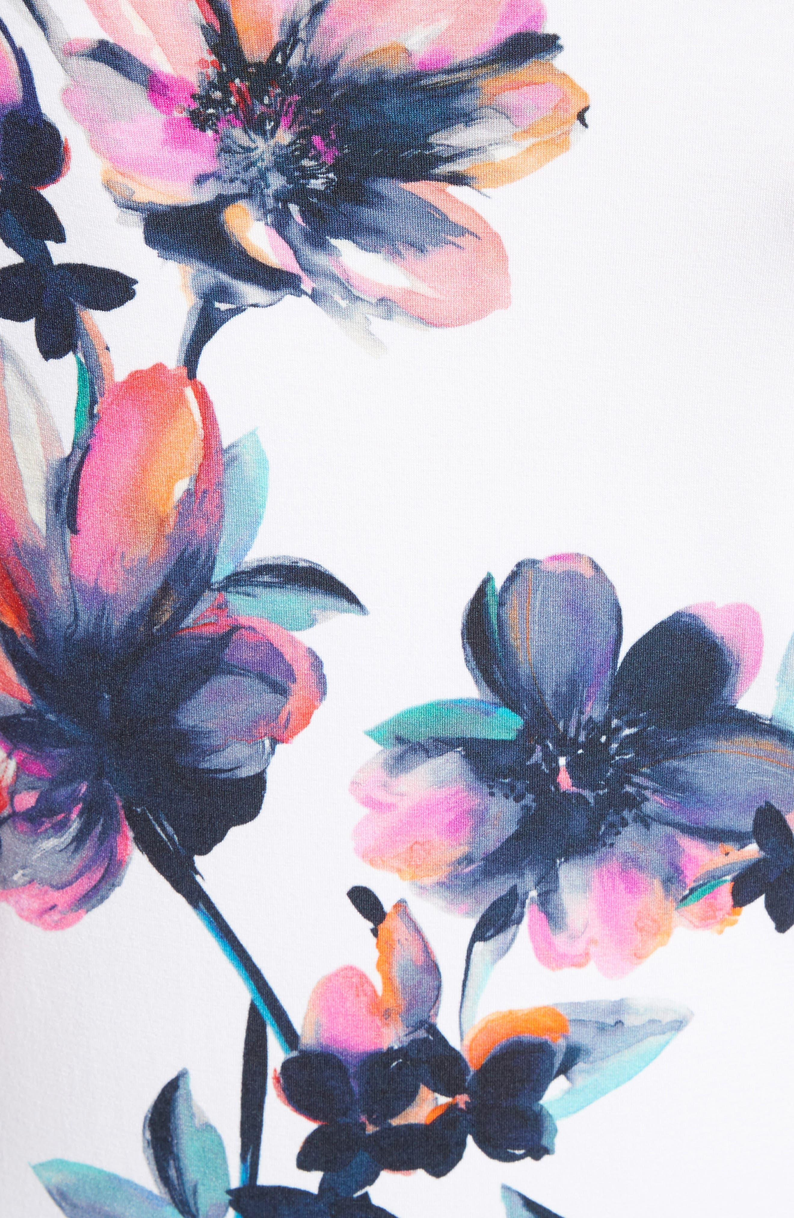Naveena Floral Print Top,                             Alternate thumbnail 5, color,                             100